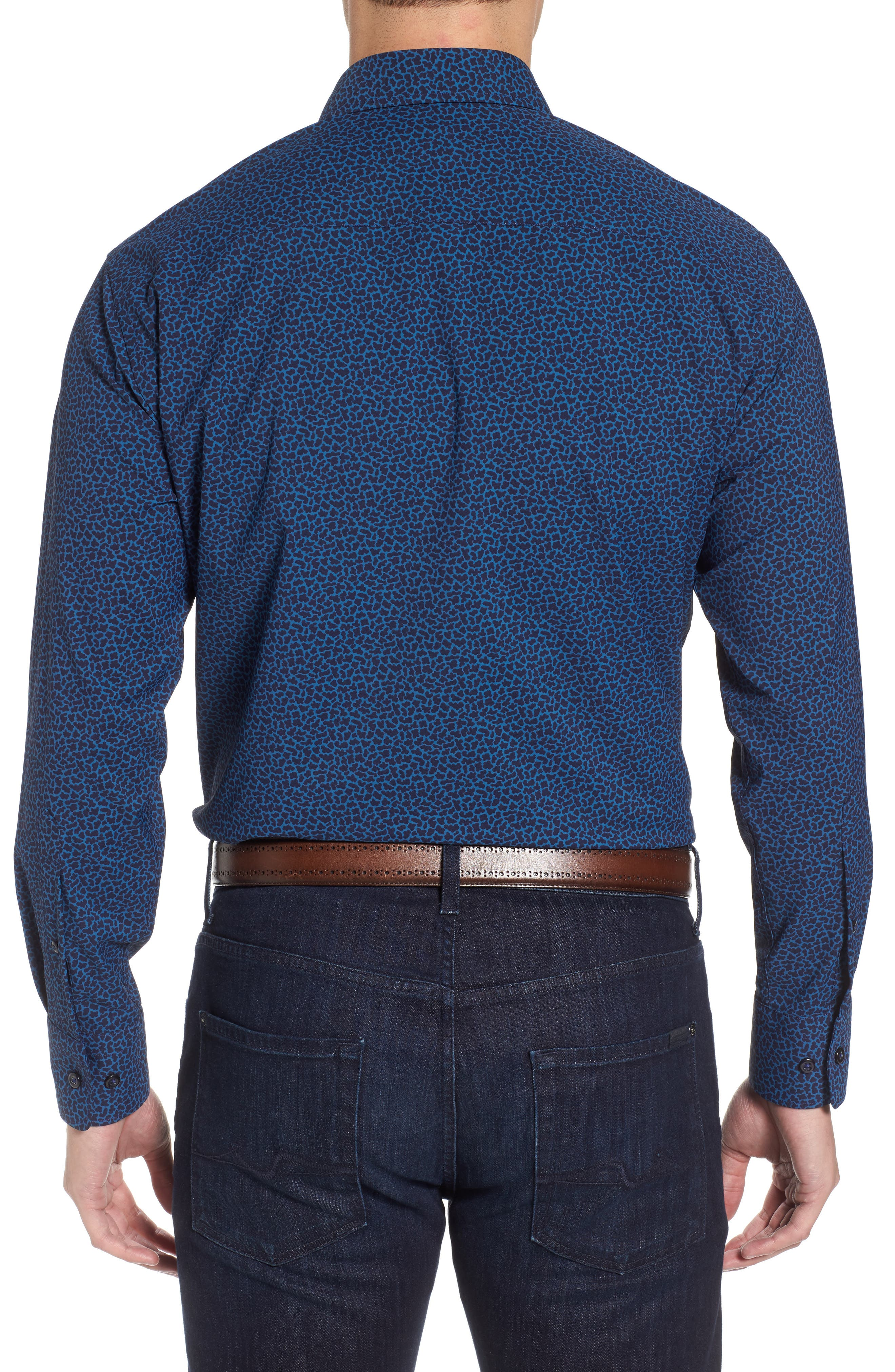 Townson Regular Fit Mini Camo Performance Sport Shirt,                             Alternate thumbnail 2, color,                             Yankee Blue