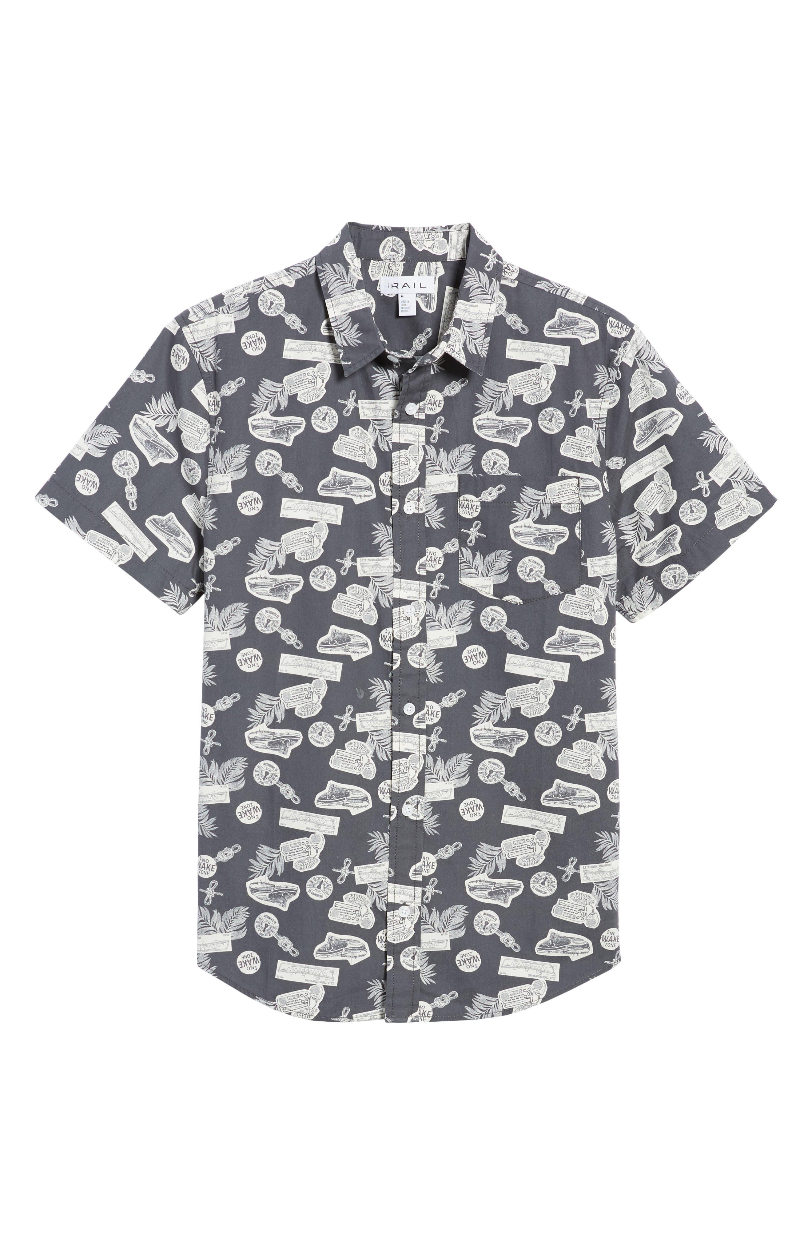 Short Sleeve Print Poplin Shirt,                             Alternate thumbnail 6, color,                             Grey Onyx Boat Print