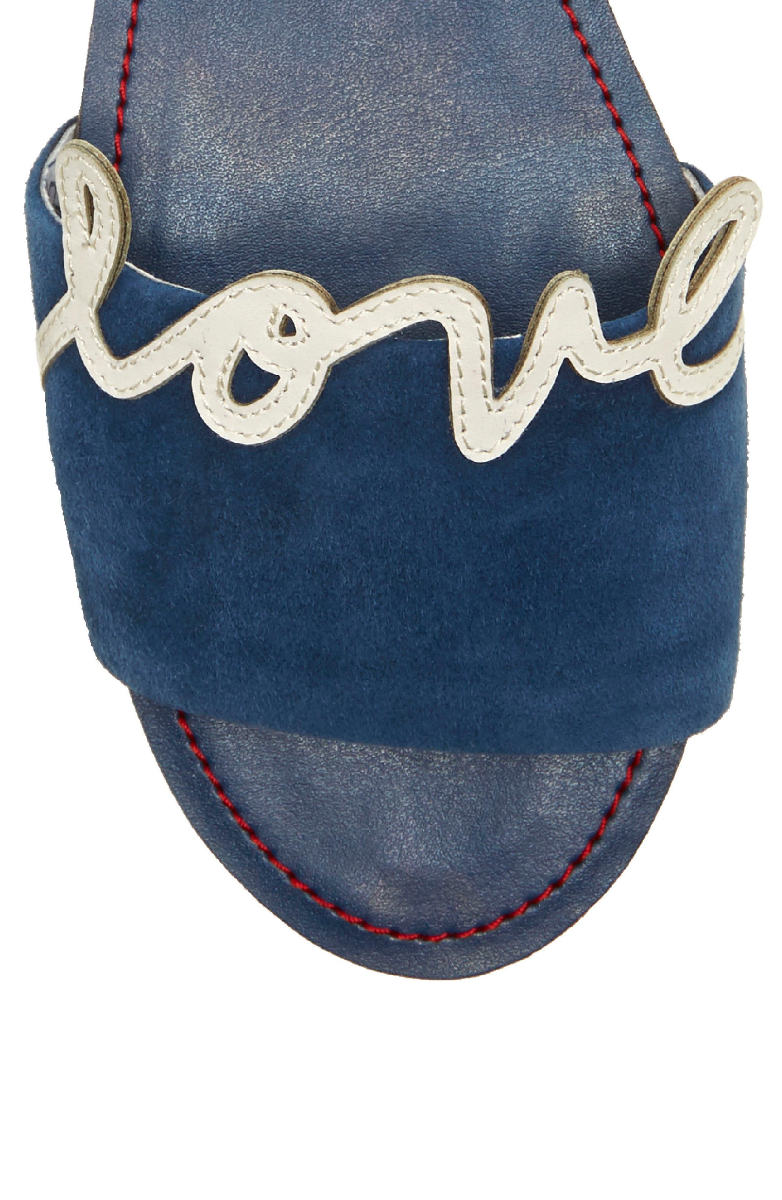 Sharlin Slide Sandal,                             Alternate thumbnail 5, color,                             Oxford Blue/ Milk