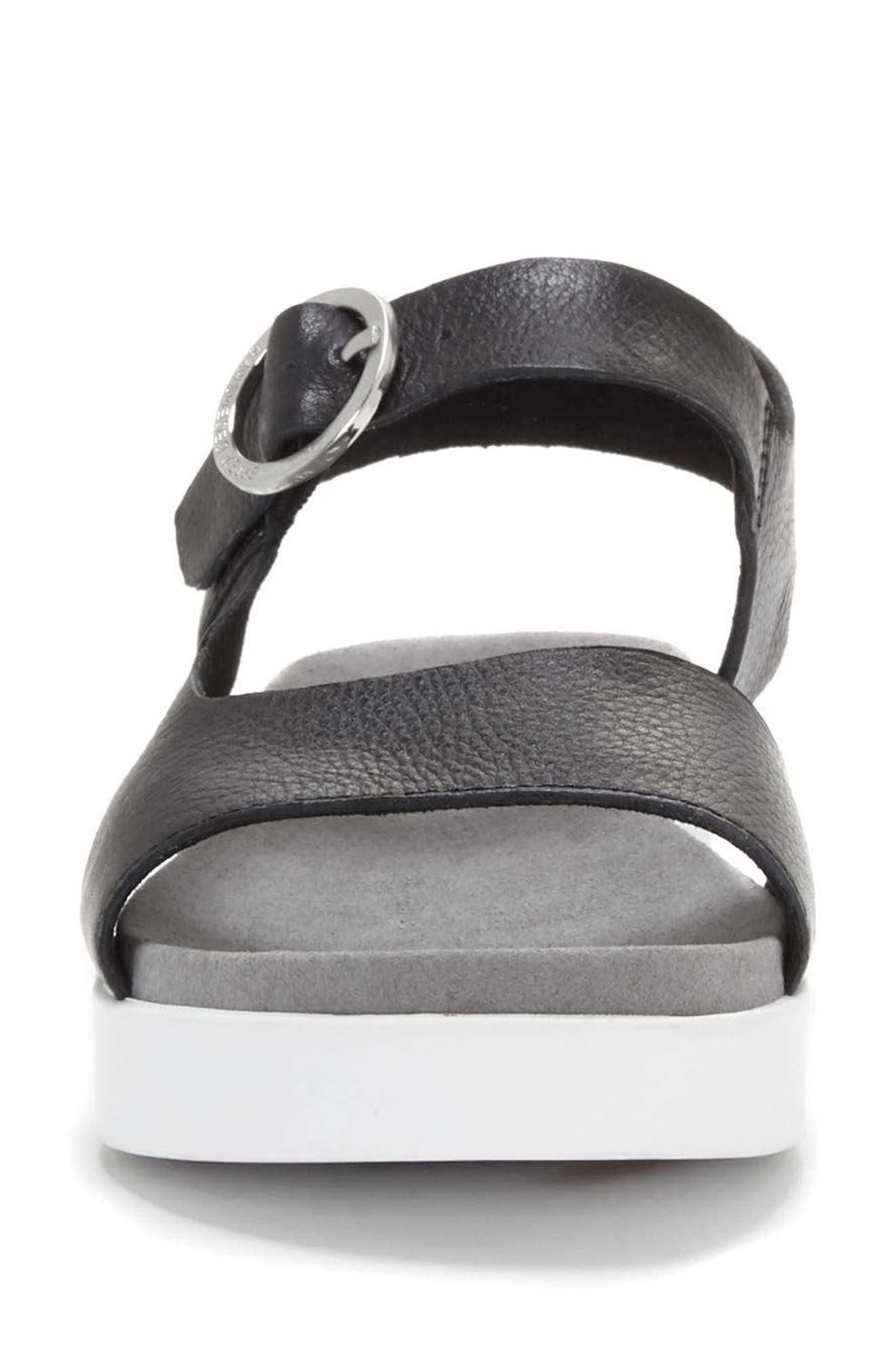 Caspin Sandal,                             Alternate thumbnail 3, color,                             Black Leather