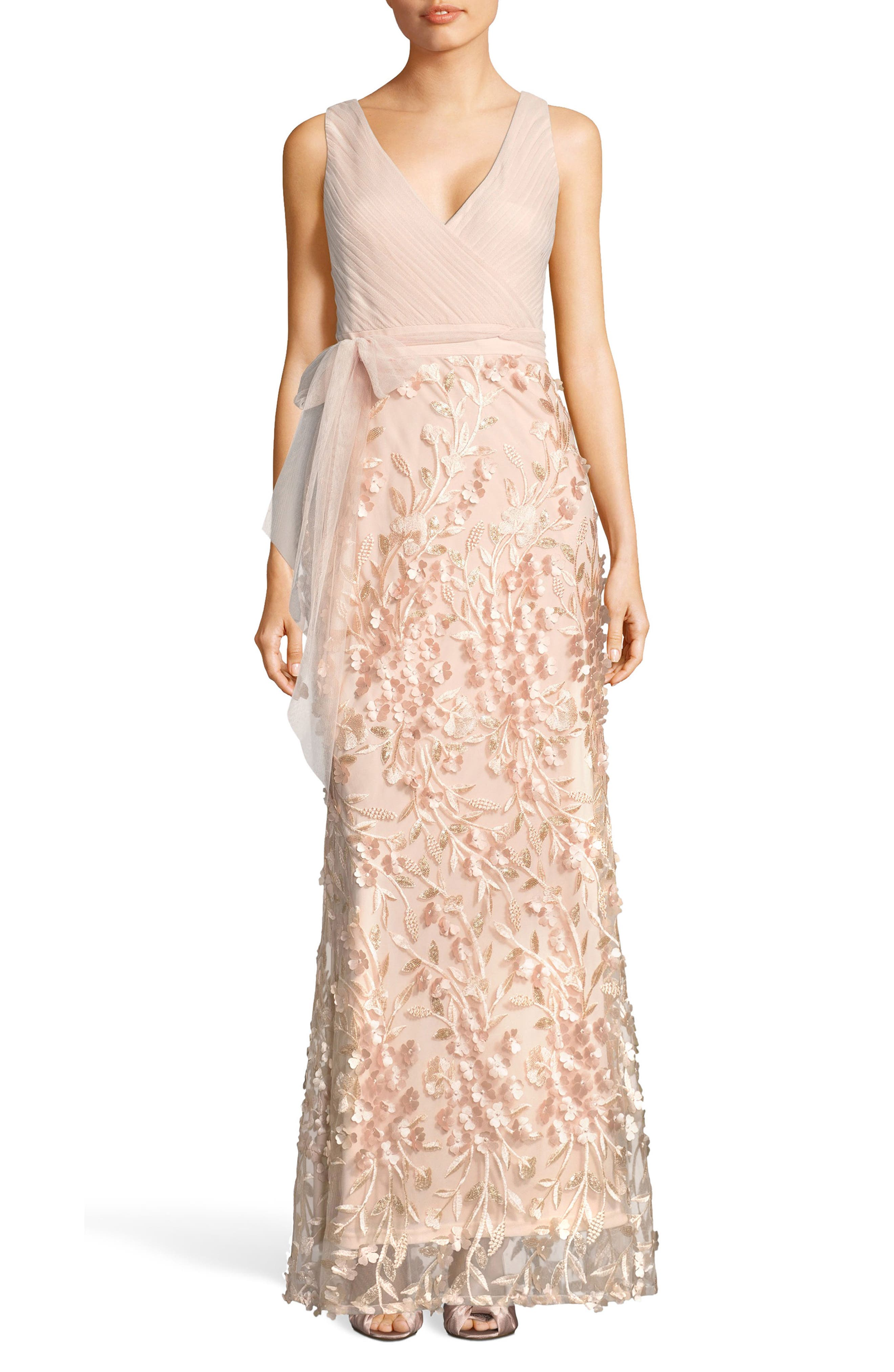 Petal Embellished Tulle Gown,                             Main thumbnail 1, color,                             Blush