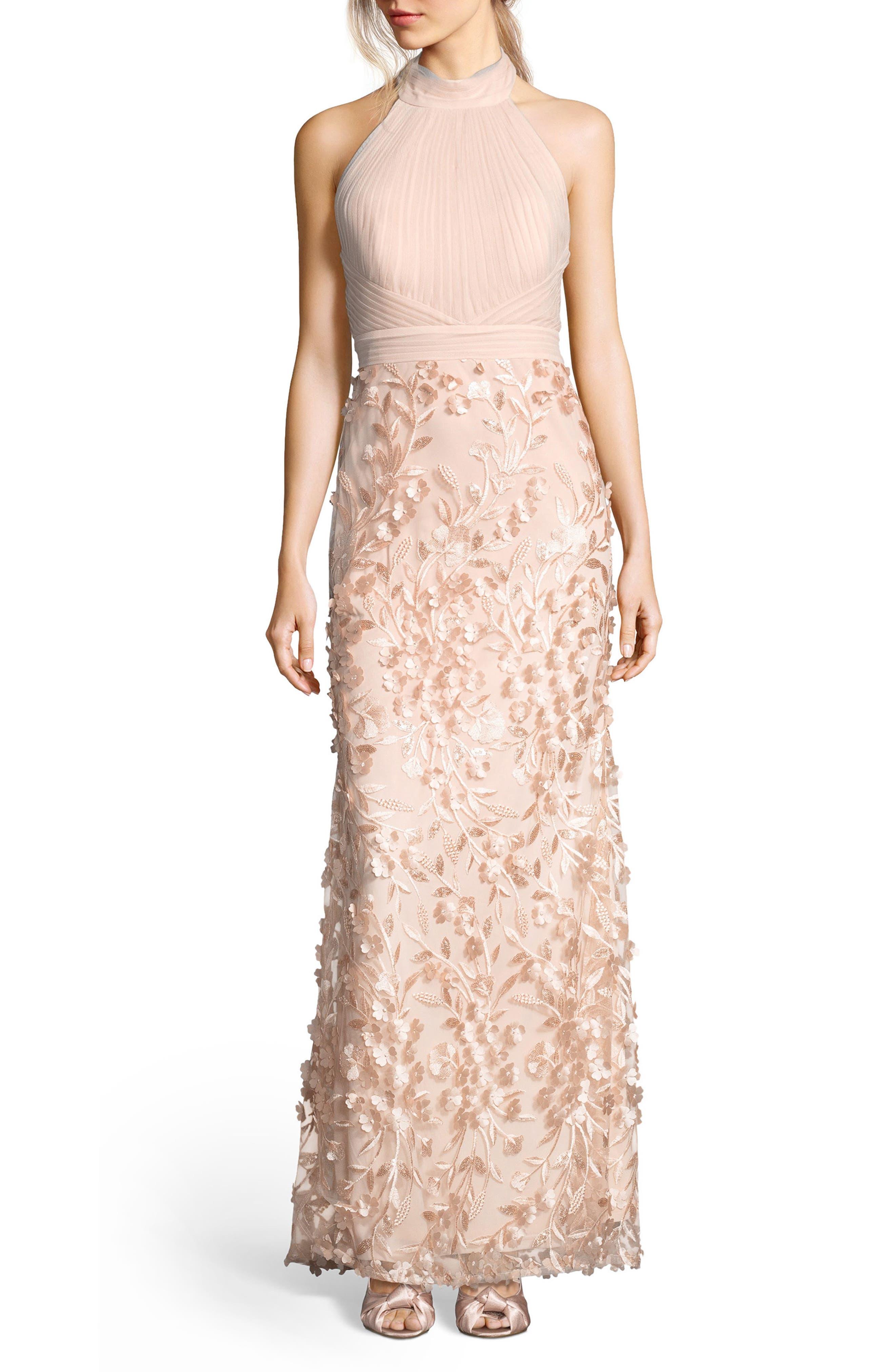 Petal Tulle Halter Gown,                         Main,                         color, Blush