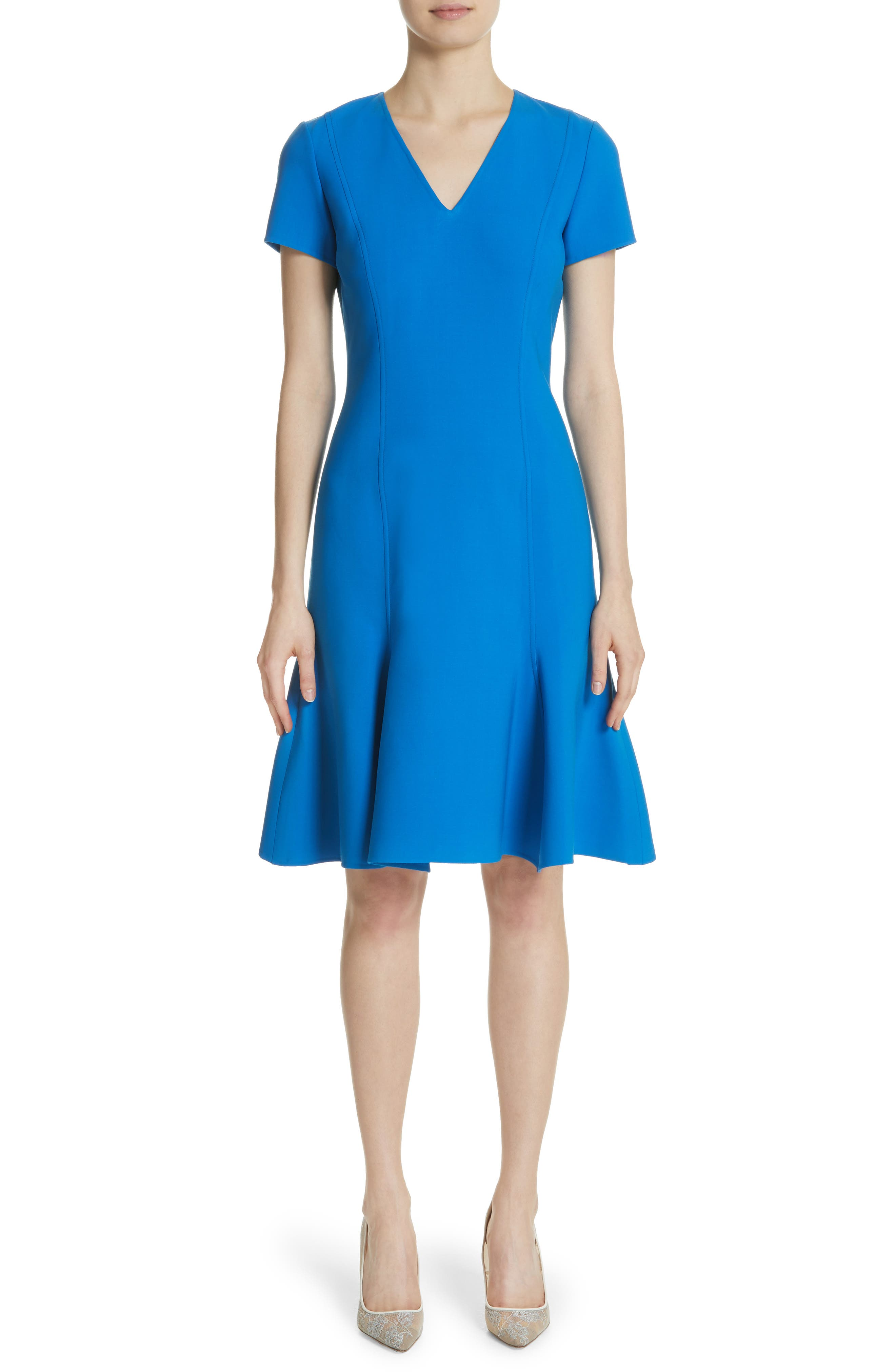 Flutter Hem Wool Blend Sheath Dress,                             Main thumbnail 1, color,                             Cobalt