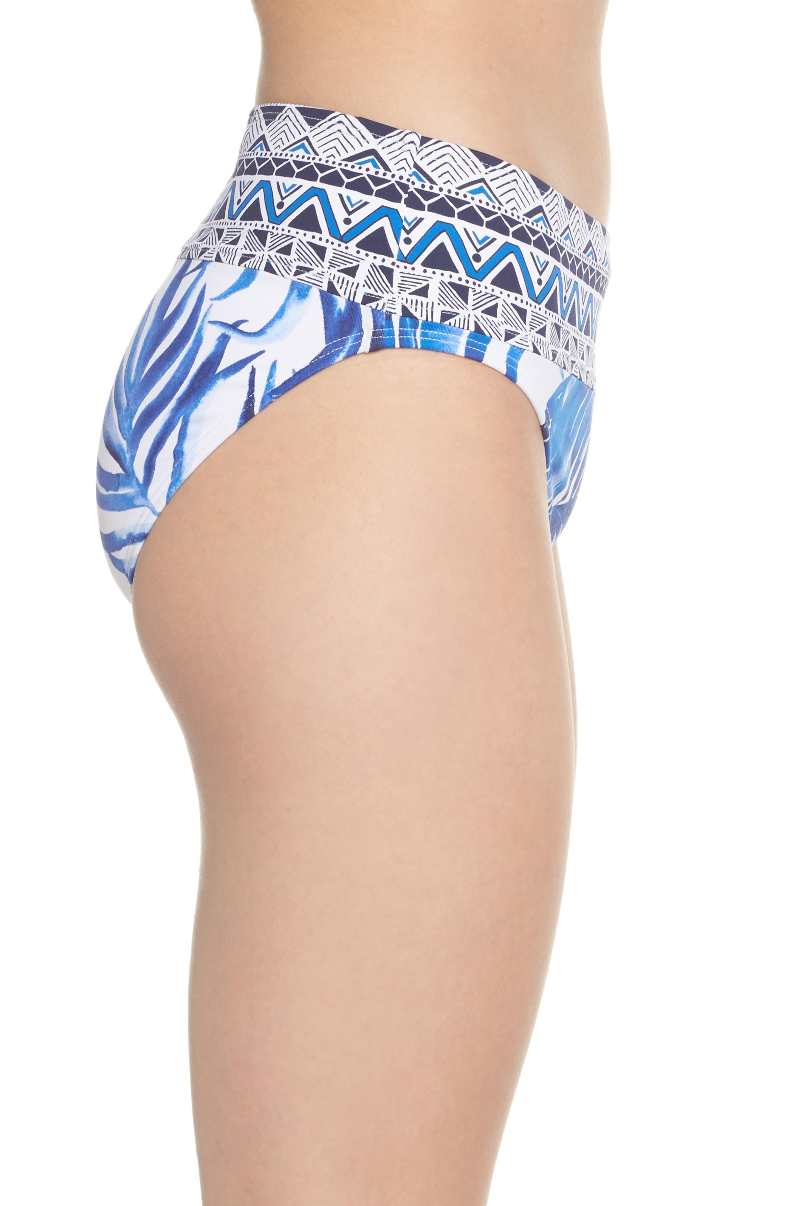 Fuller Fronds High Waist Bikini Bottoms,                             Alternate thumbnail 3, color,                             White