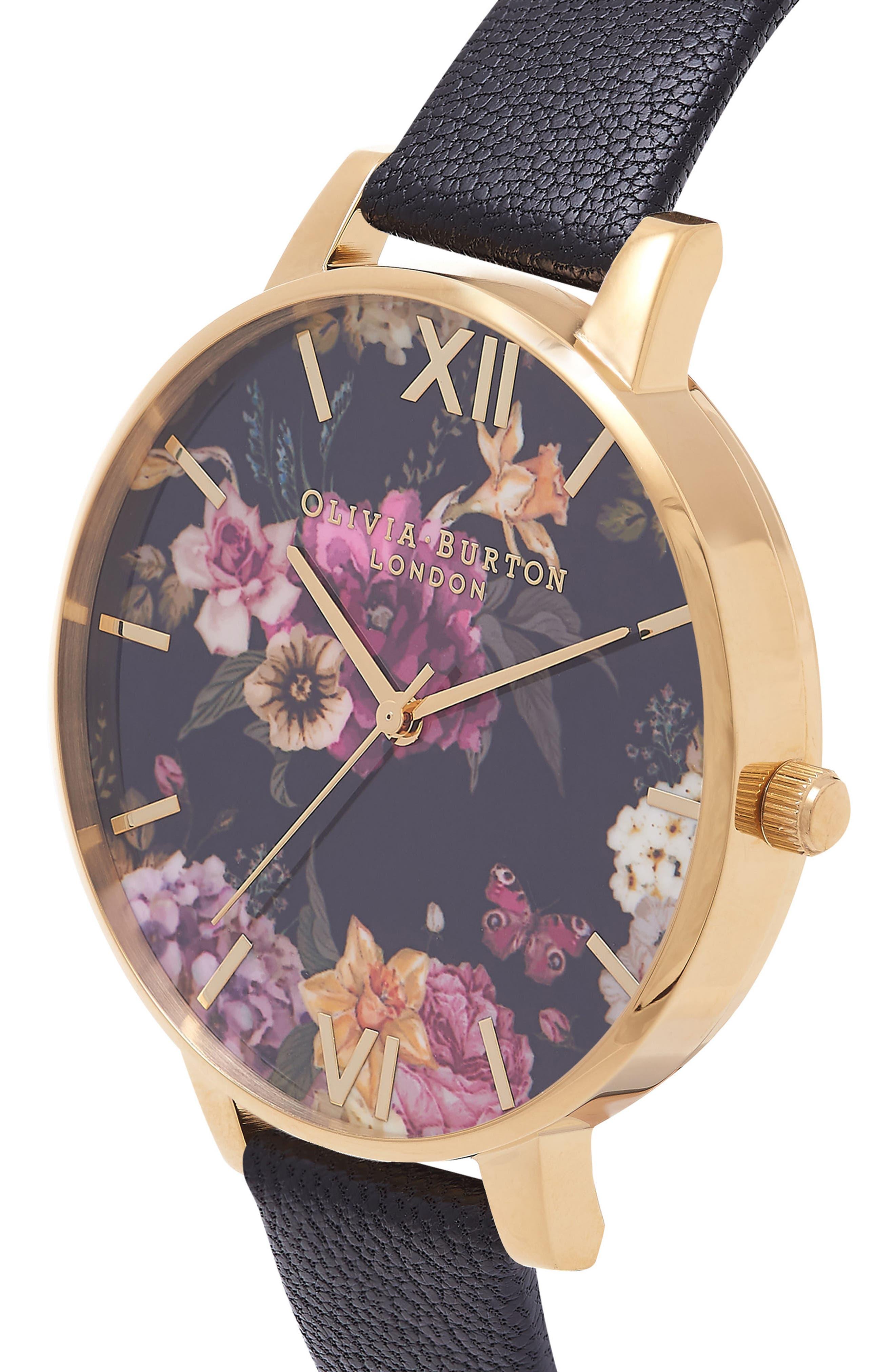 Dark Bouquet Leather Strap Watch, 38mm,                             Alternate thumbnail 3, color,                             Black/ Florals/ Gold