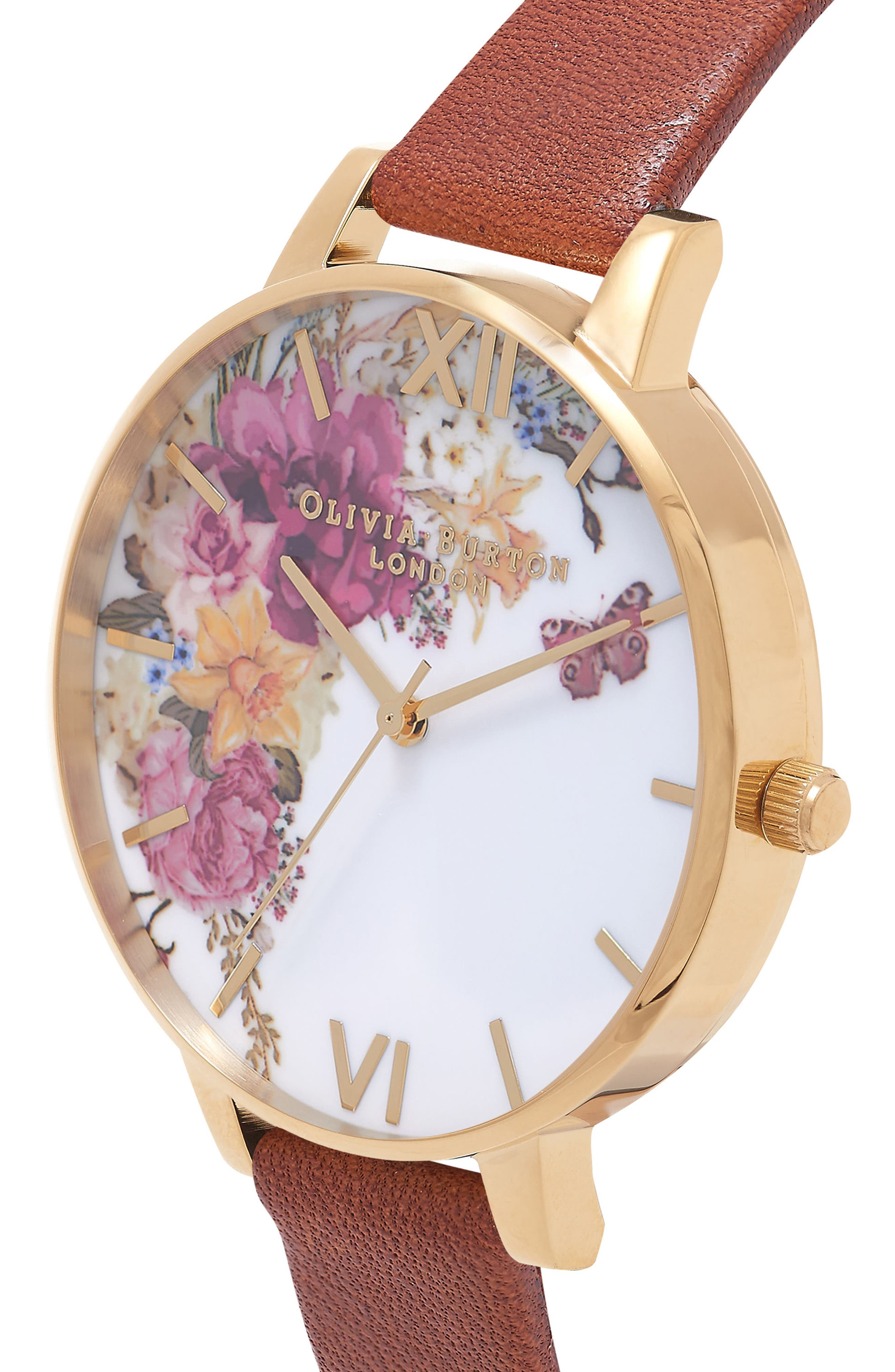 Enchanted Garden Leather Strap Watch, 38mm,                             Alternate thumbnail 2, color,                             Tan/ White Floral/ Gold