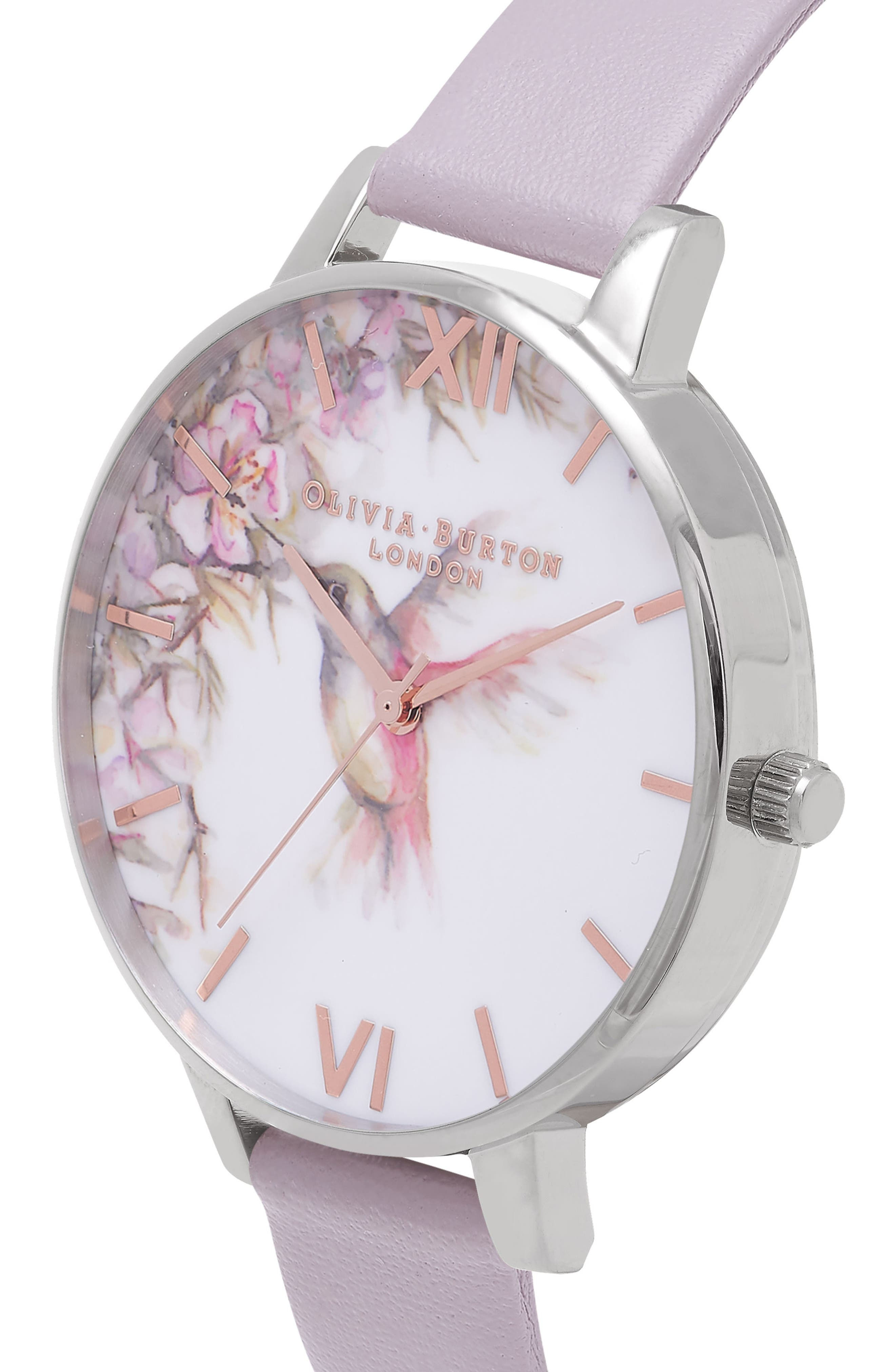 Painterly Prints Leather Strap Watch, 38mm,                             Alternate thumbnail 3, color,                             Grey Lilac/ White/ Silver
