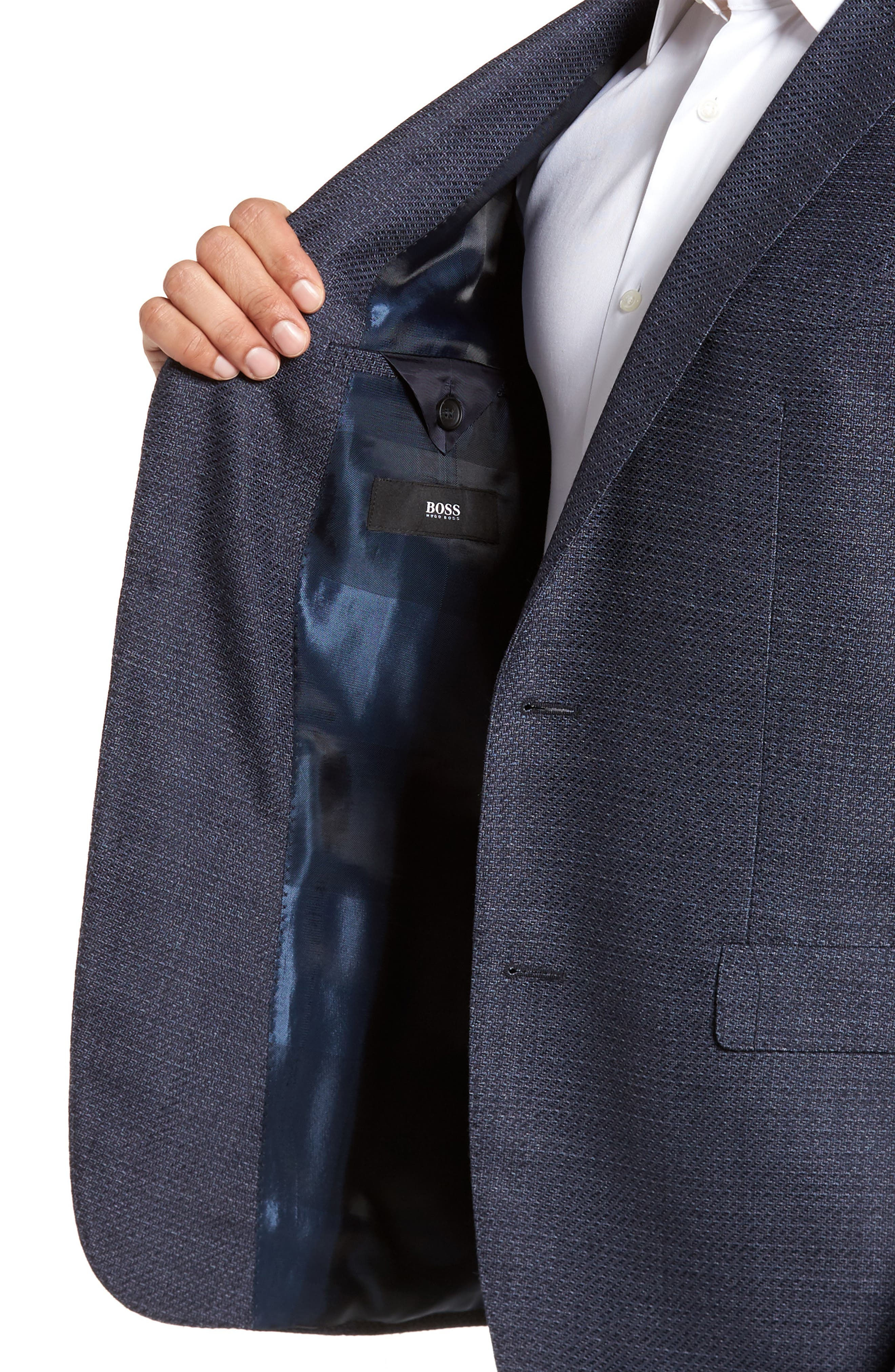 Roan Extra Trim Fit Stretch Wool Blend Blazer,                             Alternate thumbnail 4, color,                             Navy