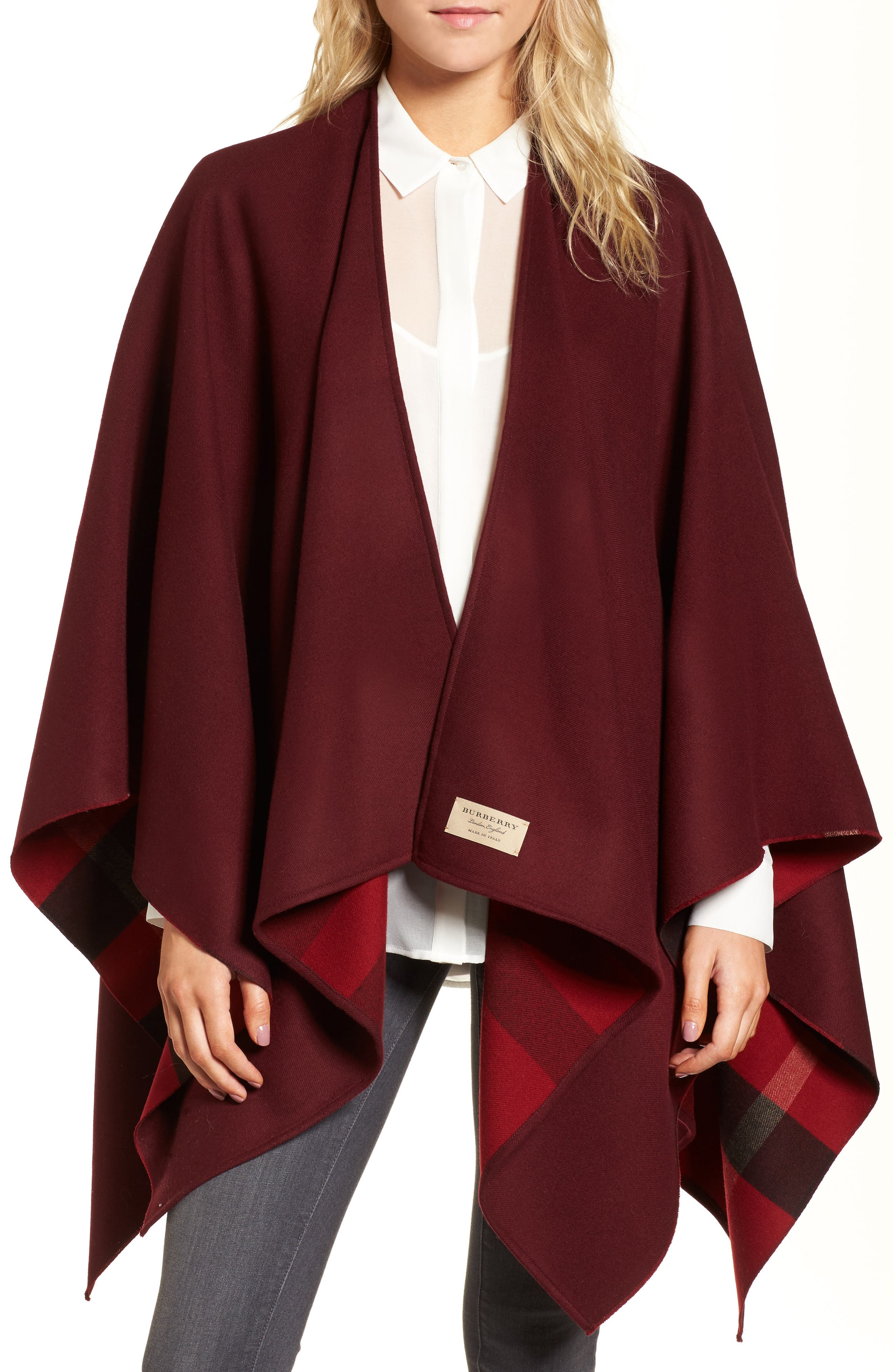 Merino Wool Reversible Wrap,                             Main thumbnail 1, color,                             Parade Red