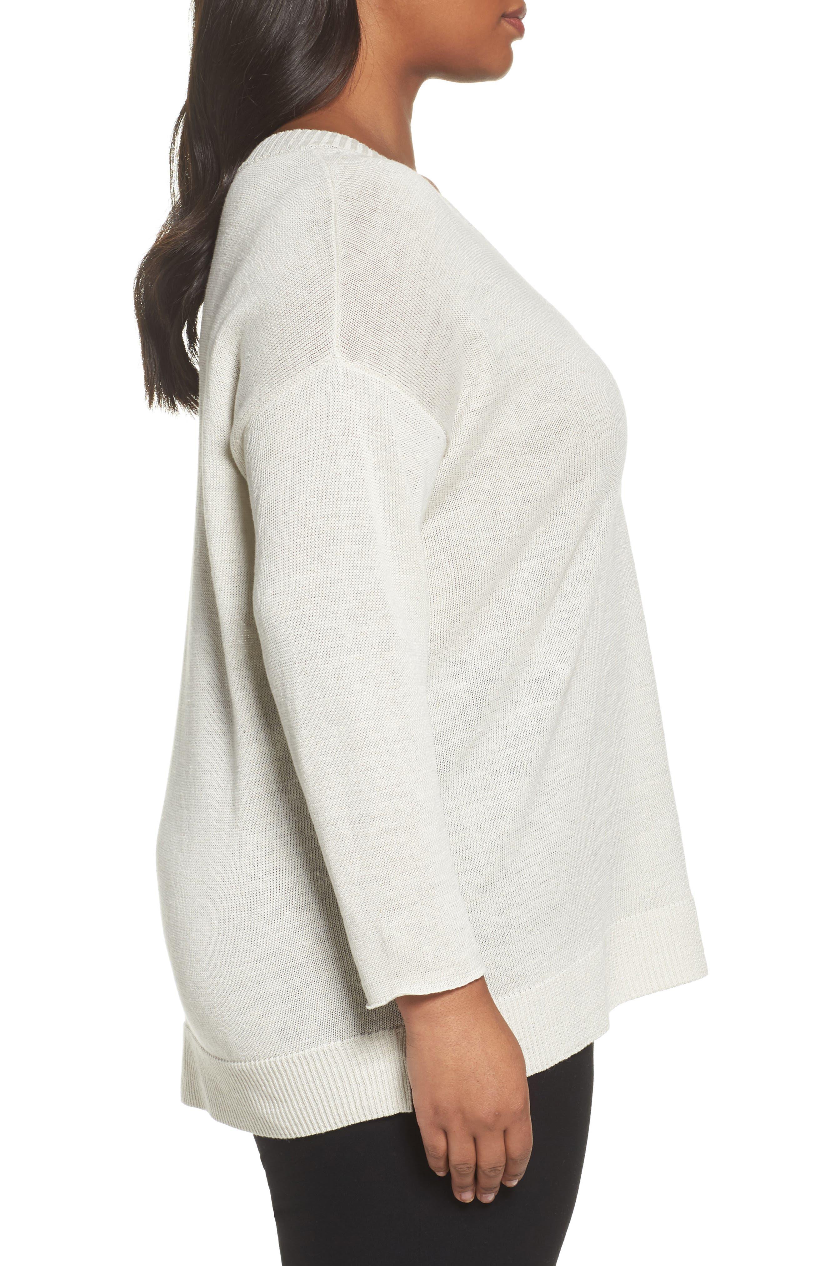 Organic Linen Sweater,                             Alternate thumbnail 3, color,                             Bone