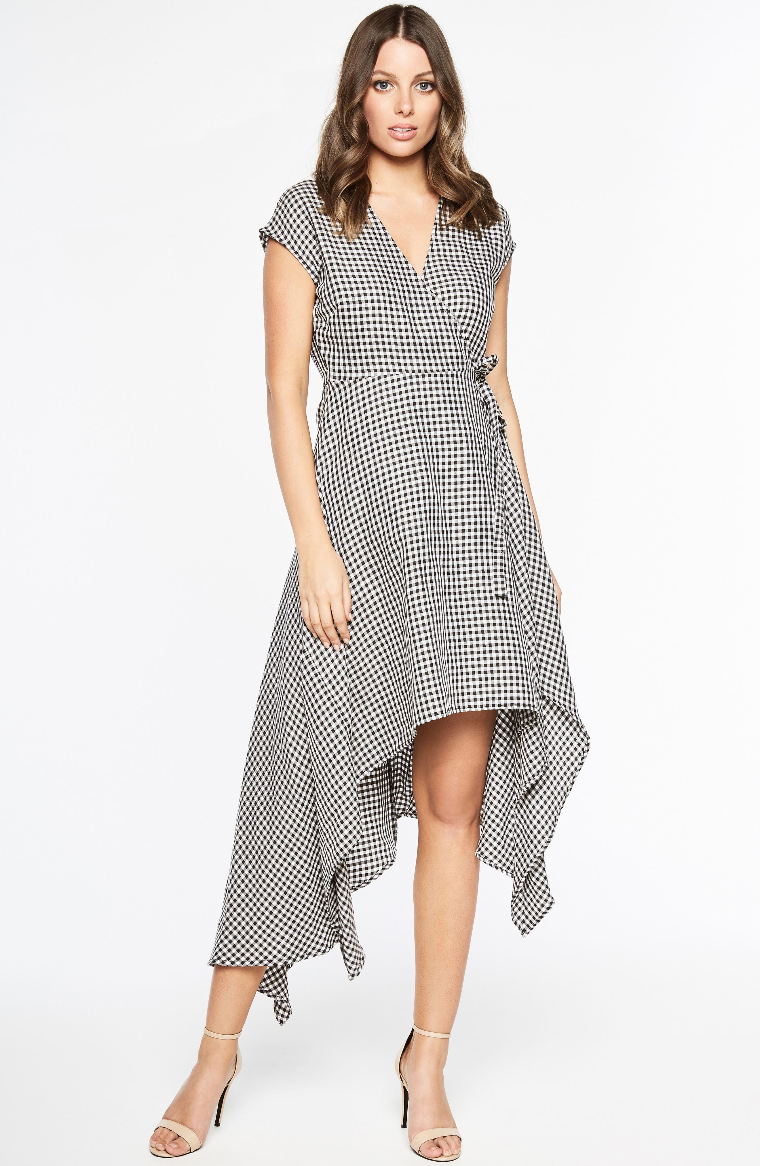 Check Asymmetrical Wrap Dress,                             Alternate thumbnail 2, color,                             Black/ White