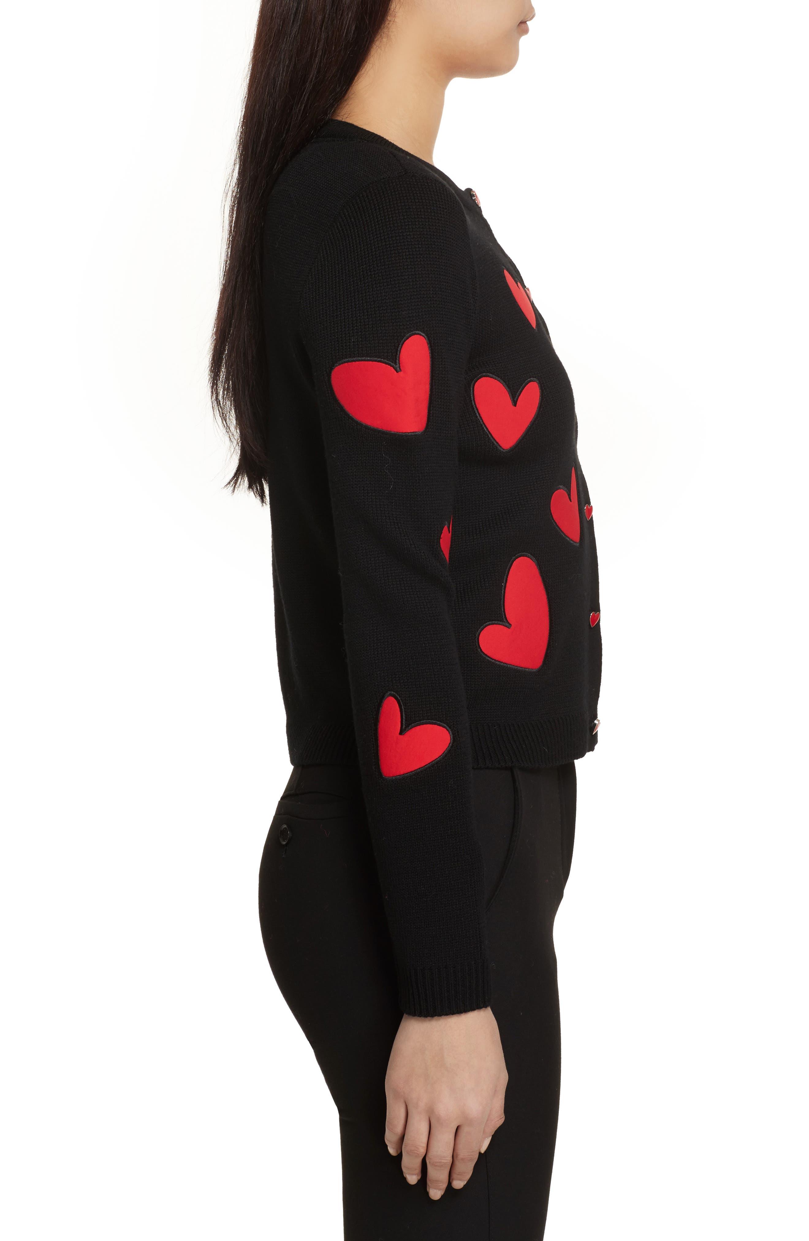 Ruthy Heart Appliqué Cardigan,                             Alternate thumbnail 3, color,                             Black/ Apple