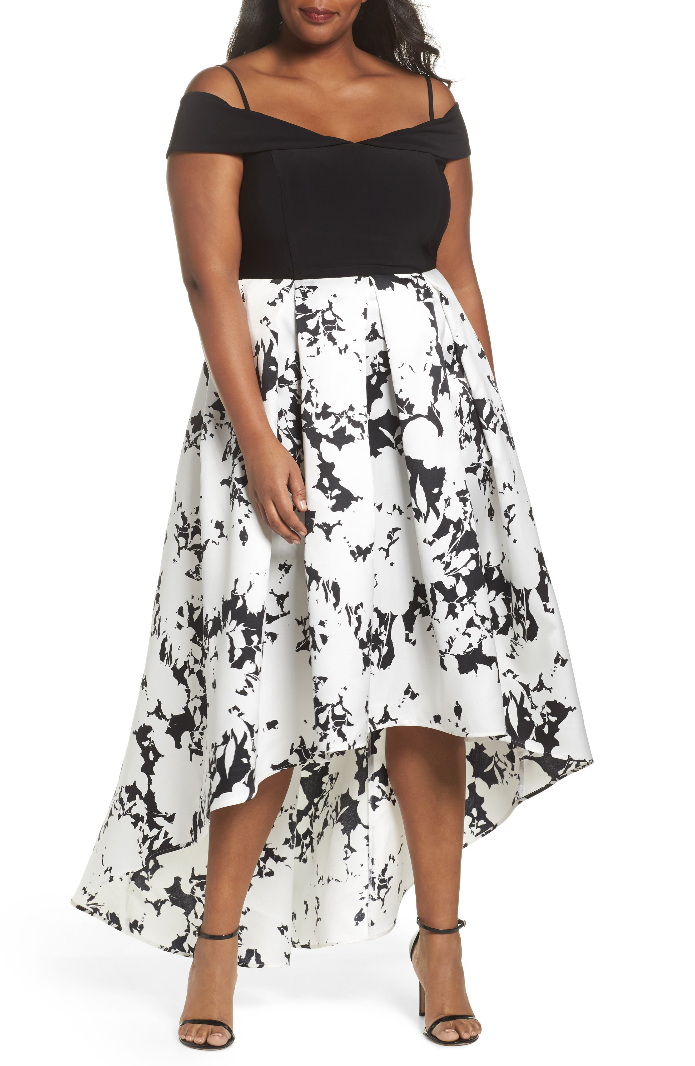 Main Image - Marina Off the Shoulder Print High/Low Gown (Plus Size)