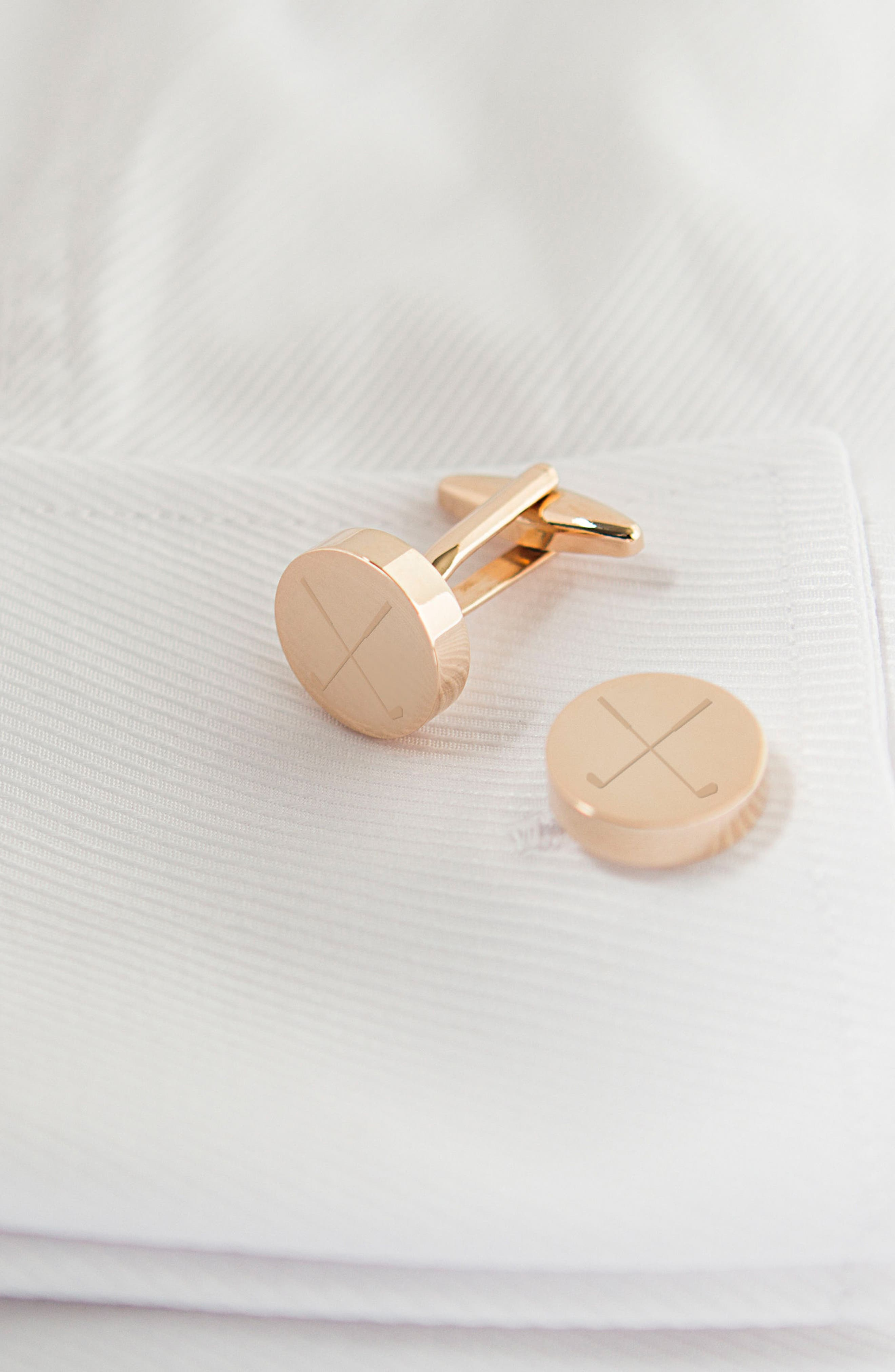 Golf Cuff Links,                             Alternate thumbnail 2, color,                             Rose Gold