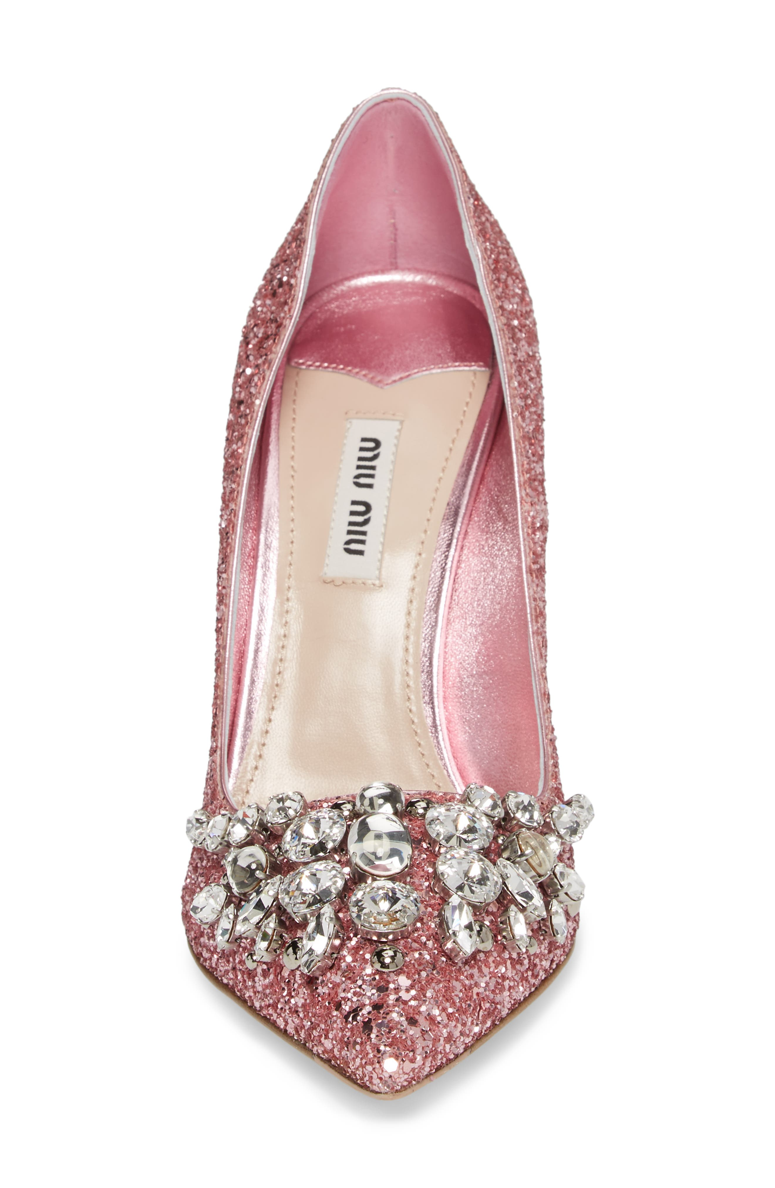 Embellished Glitter Pump,                             Alternate thumbnail 4, color,                             Pink