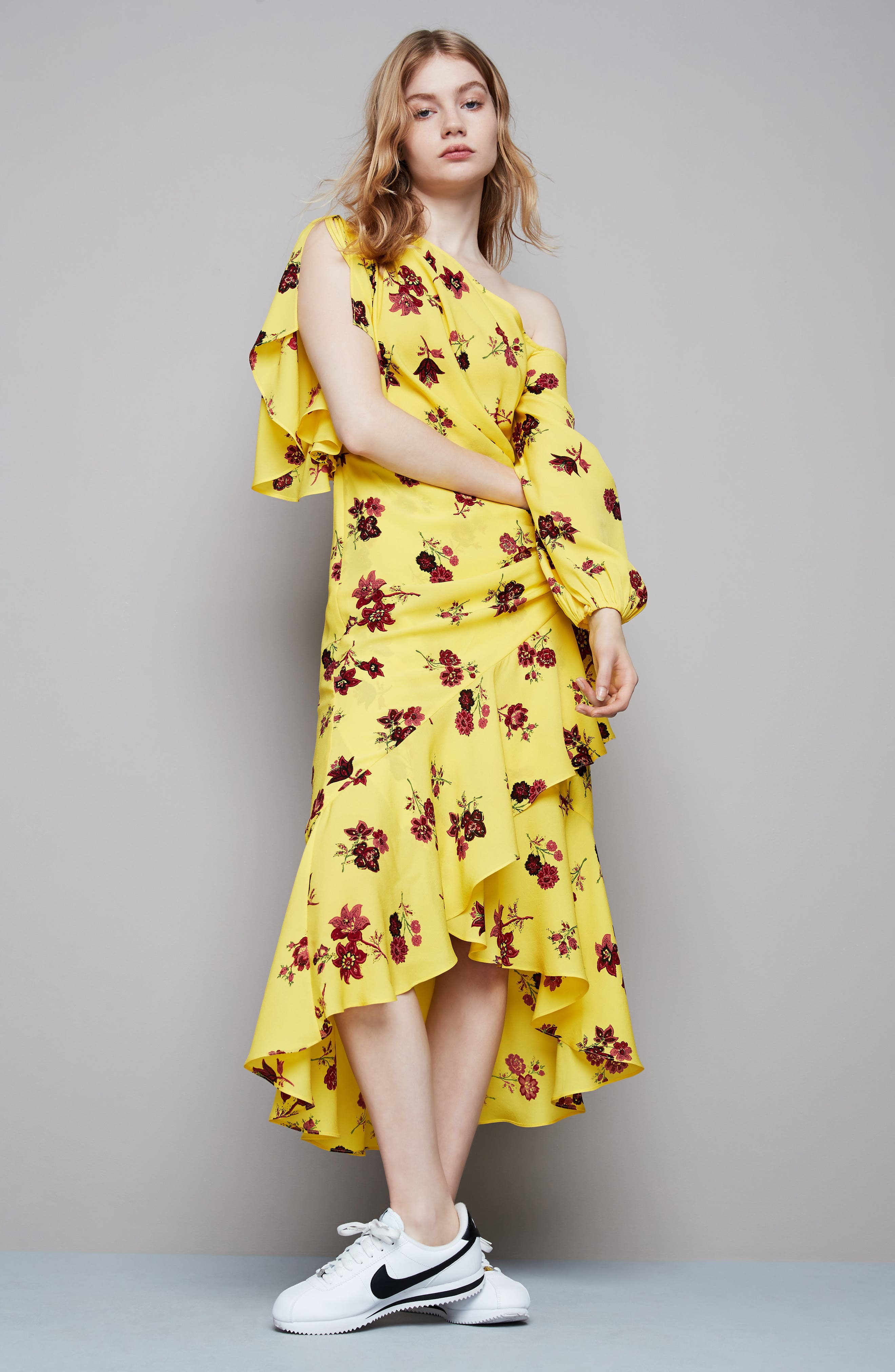 Florence One-Shoulder Silk Dress,                             Alternate thumbnail 2, color,                             Yellow