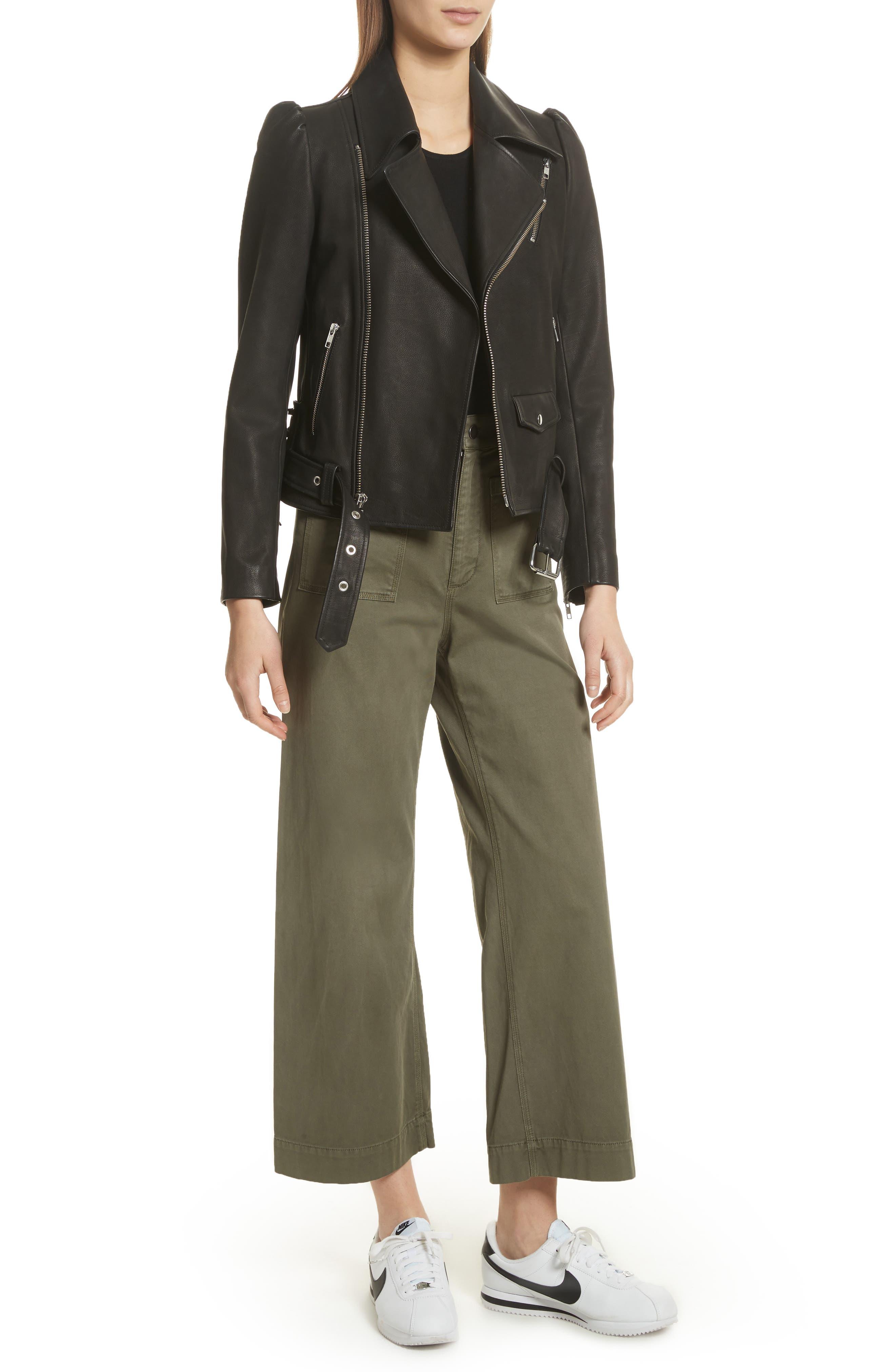 Calix Puff Shoulder Leather Moto Jacket,                             Alternate thumbnail 5, color,                             Black