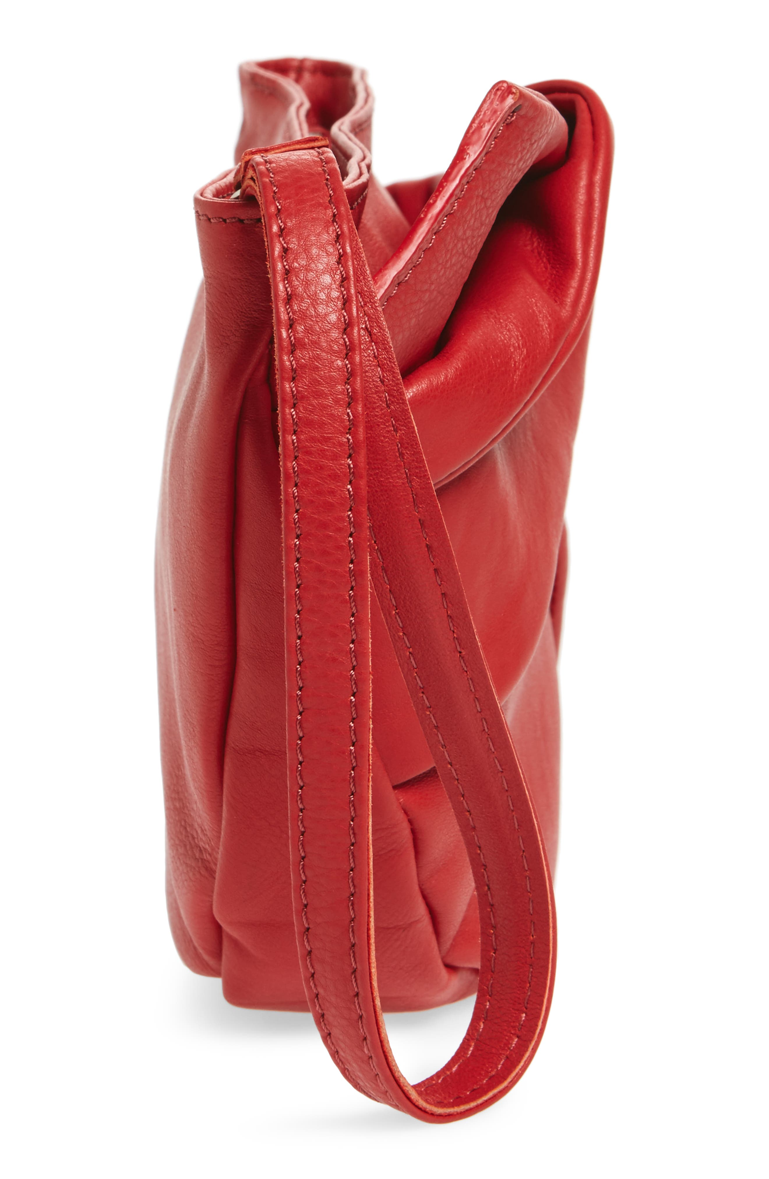 Jasmine Leather Clutch,                             Alternate thumbnail 4, color,                             Red