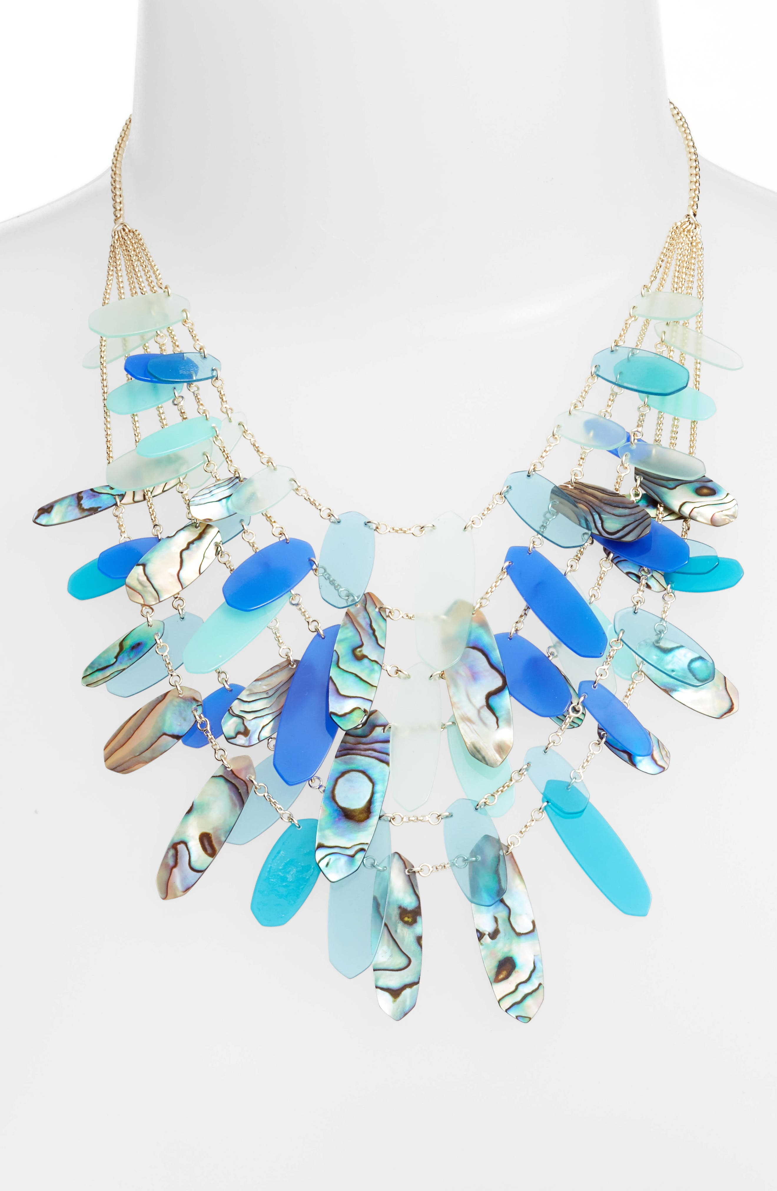 Patricia Multistrand Necklace,                         Main,                         color, Blue Mix Abalone/ Gold