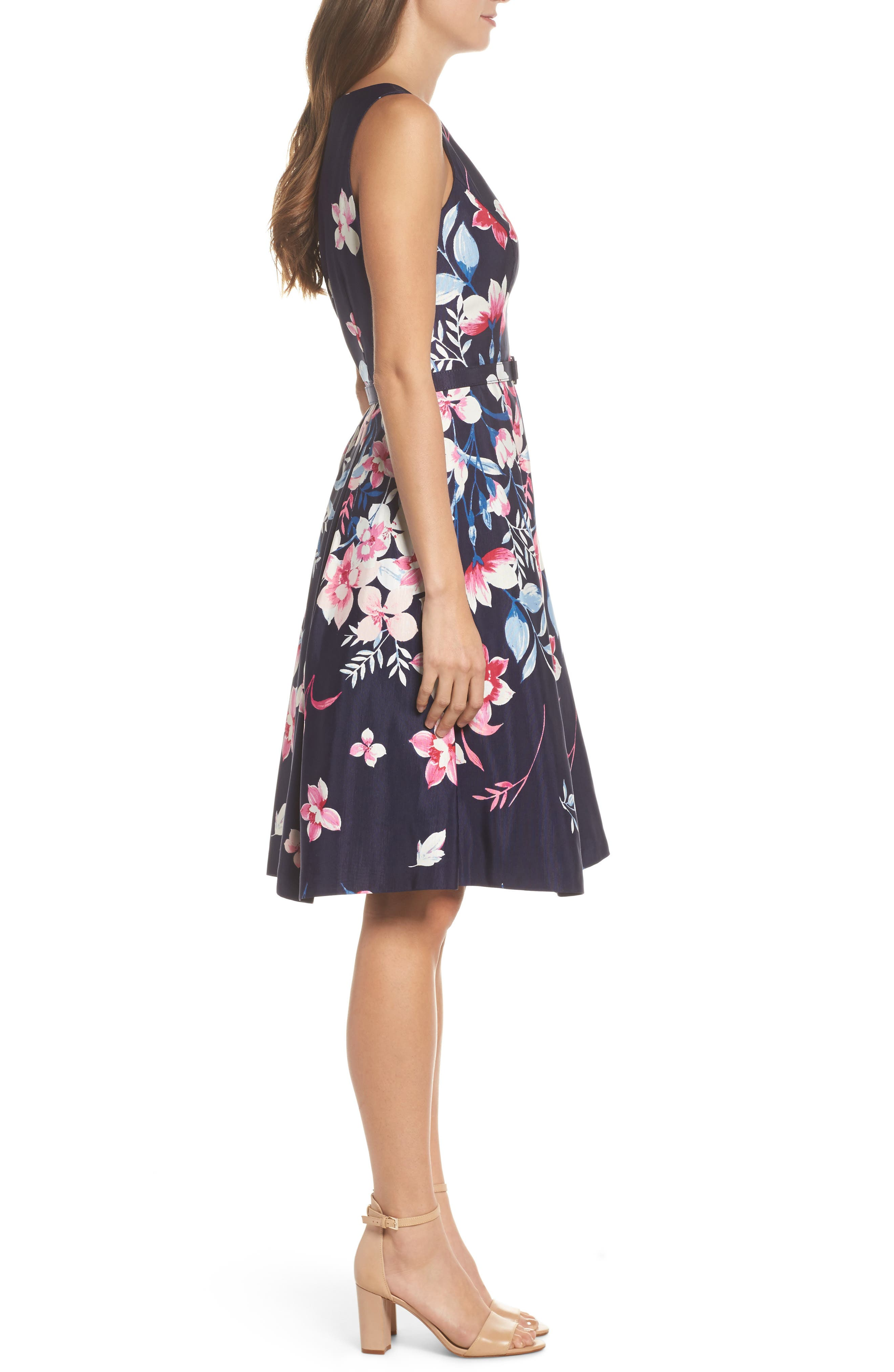 Fit & Flare Dress,                             Alternate thumbnail 3, color,                             Navy