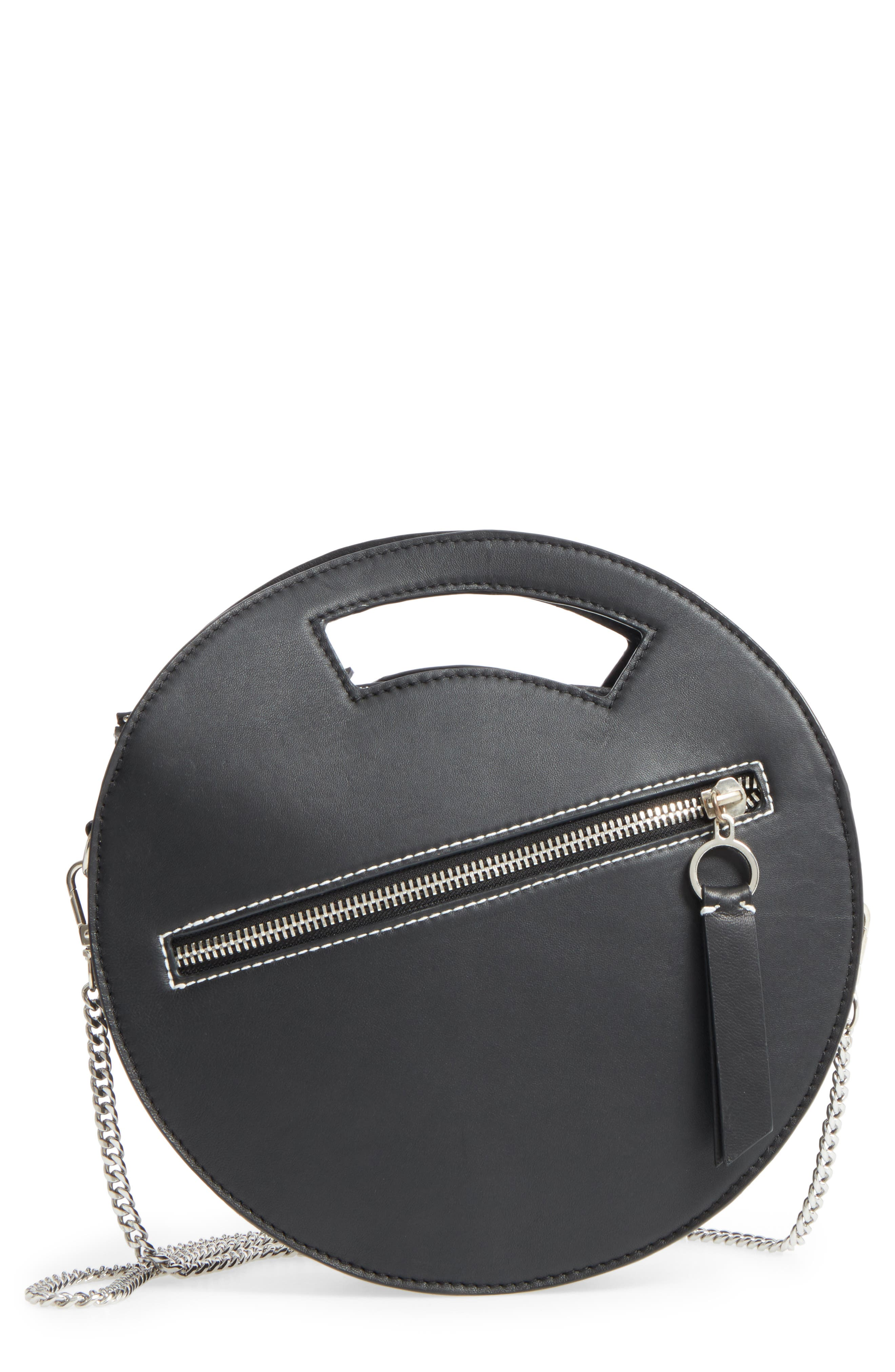 Premium Leather Circle Crossbody Bag,                             Main thumbnail 1, color,                             Black