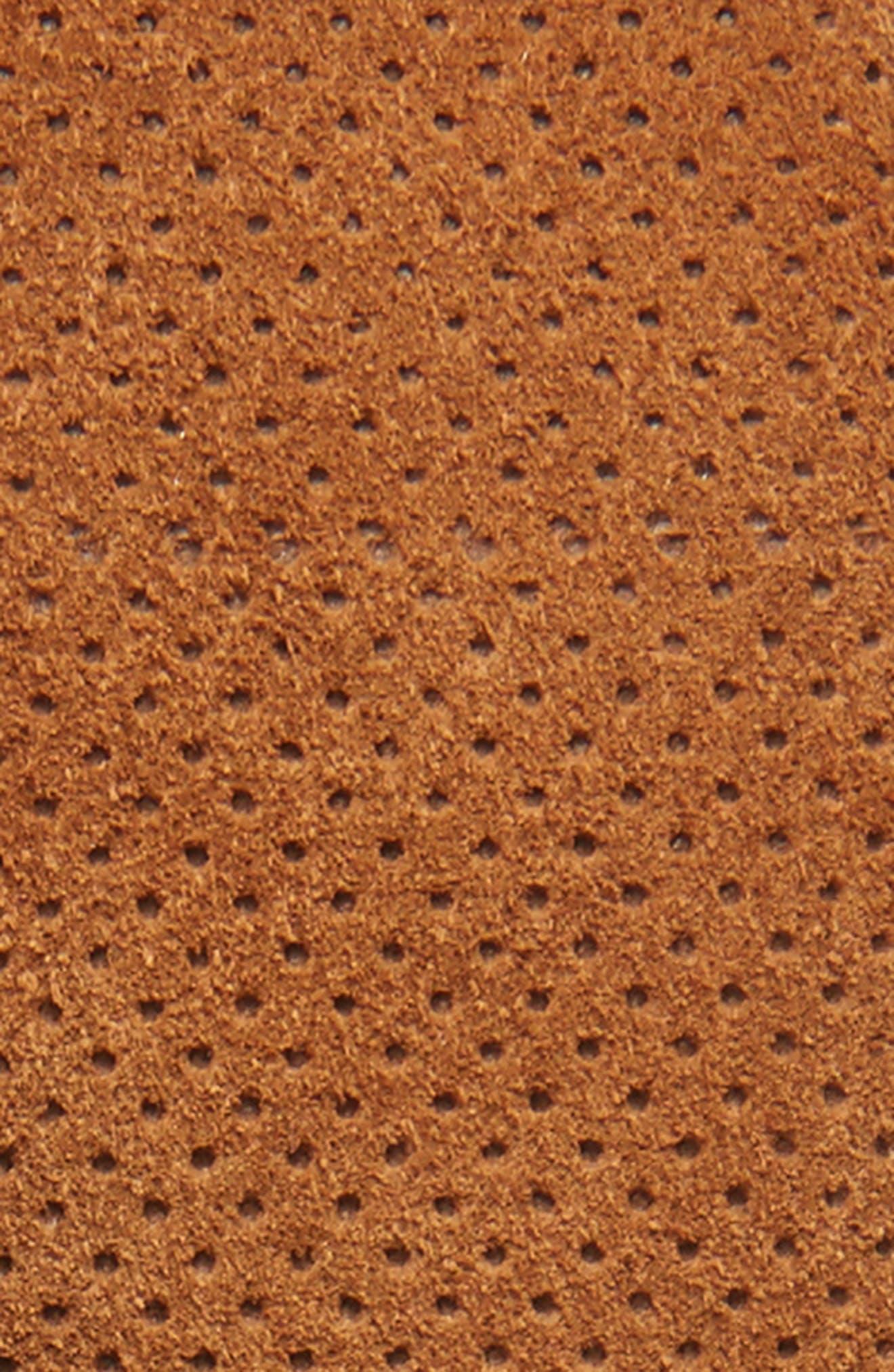 Perforated Suede Belt,                             Alternate thumbnail 2, color,                             Medium Brown