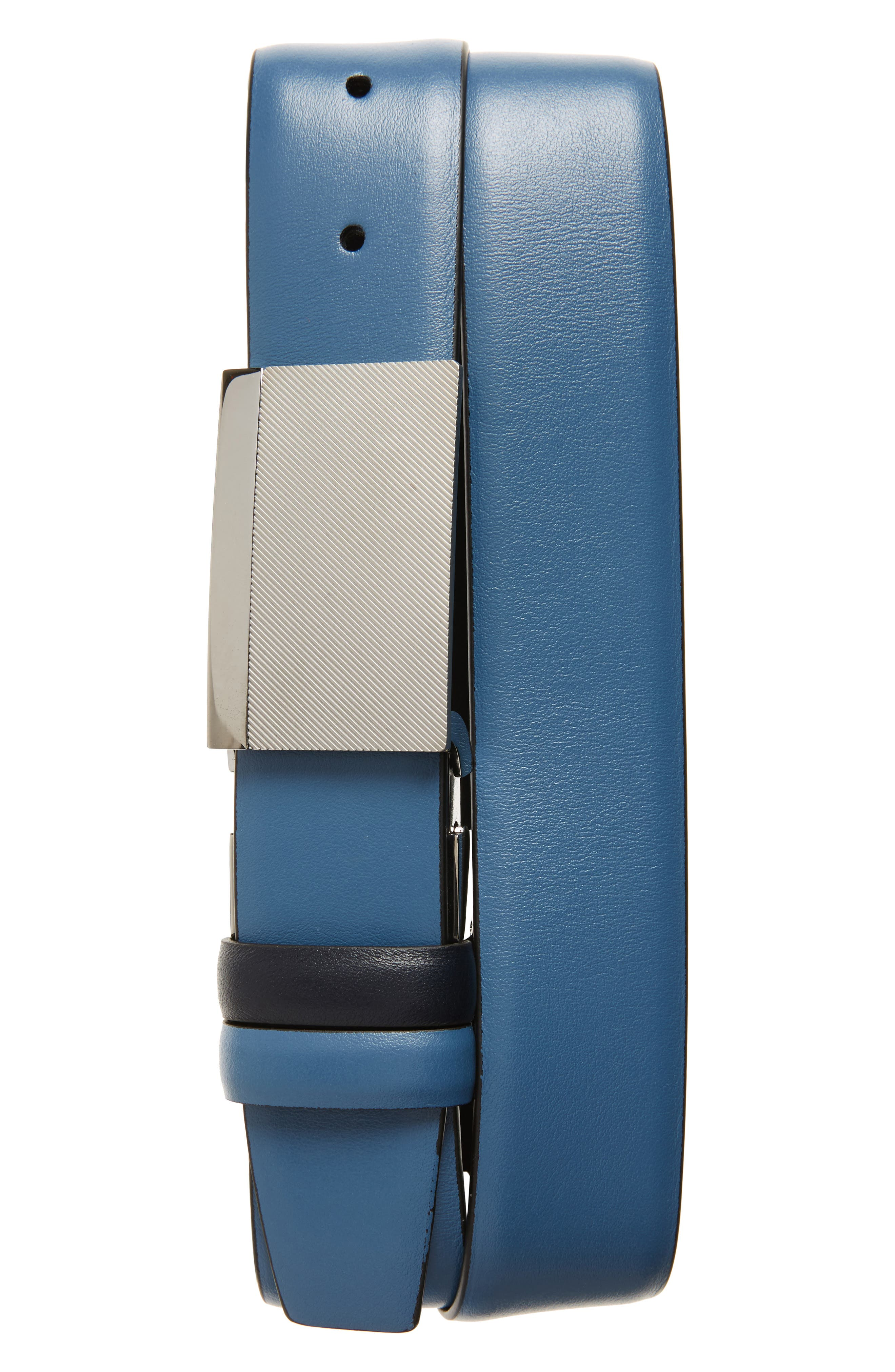 Reversible Leather Belt,                         Main,                         color, Blue