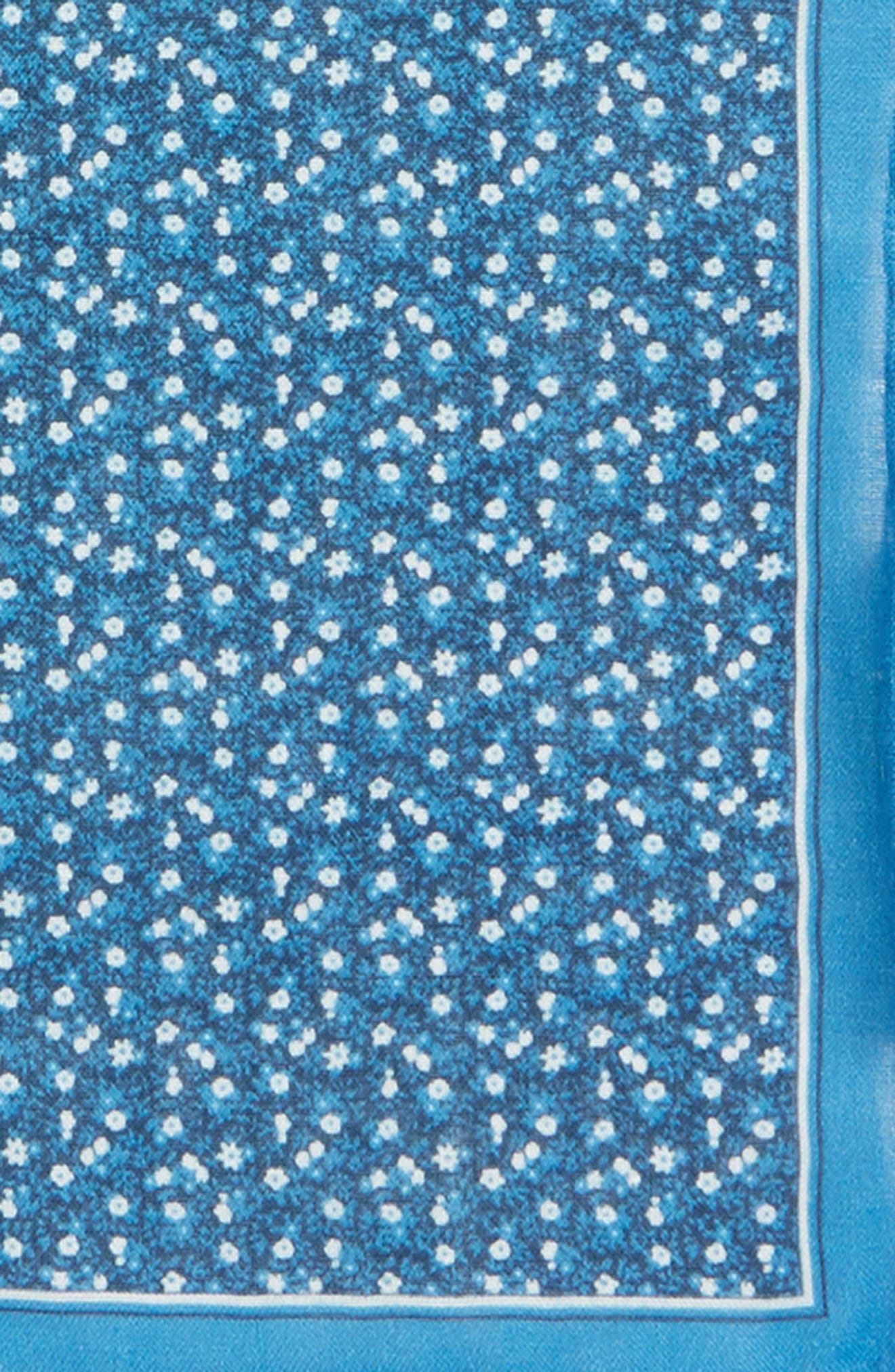 Floral Mark Linen Pocket Square,                             Alternate thumbnail 3, color,                             Blue