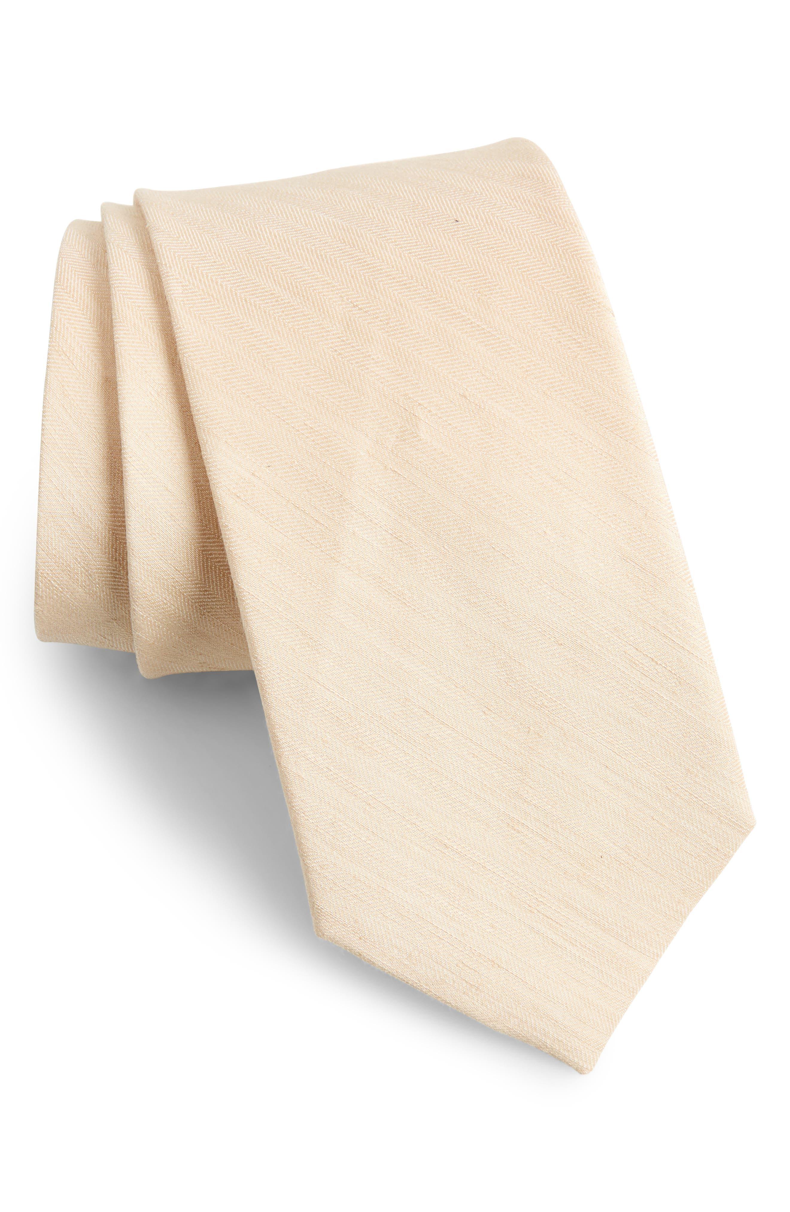 Main Image - The Tie Bar Linen Row Linen & Silk Tie (X-Long)