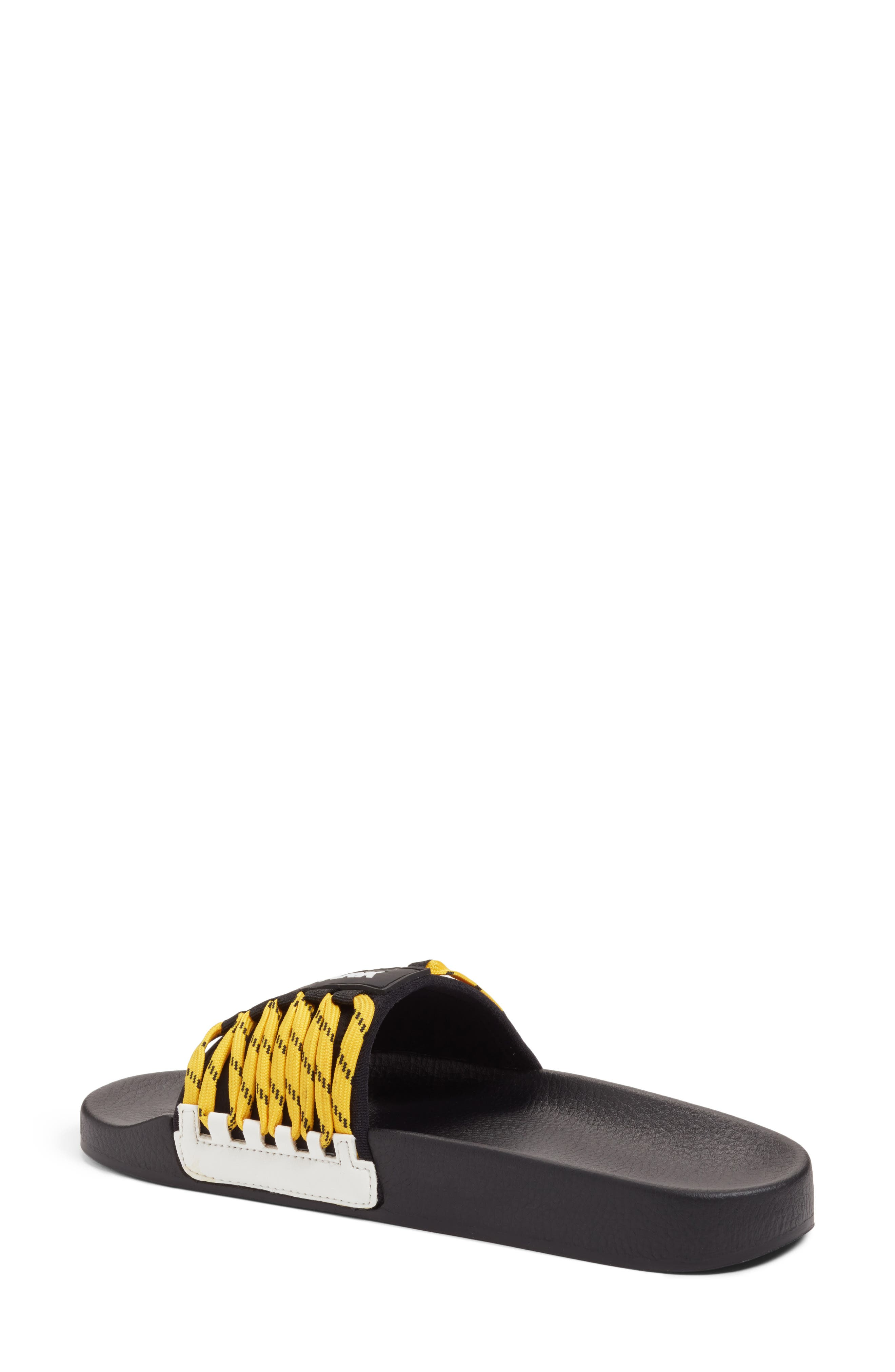 Lace-Up Slide Sandal,                             Alternate thumbnail 2, color,                             Black