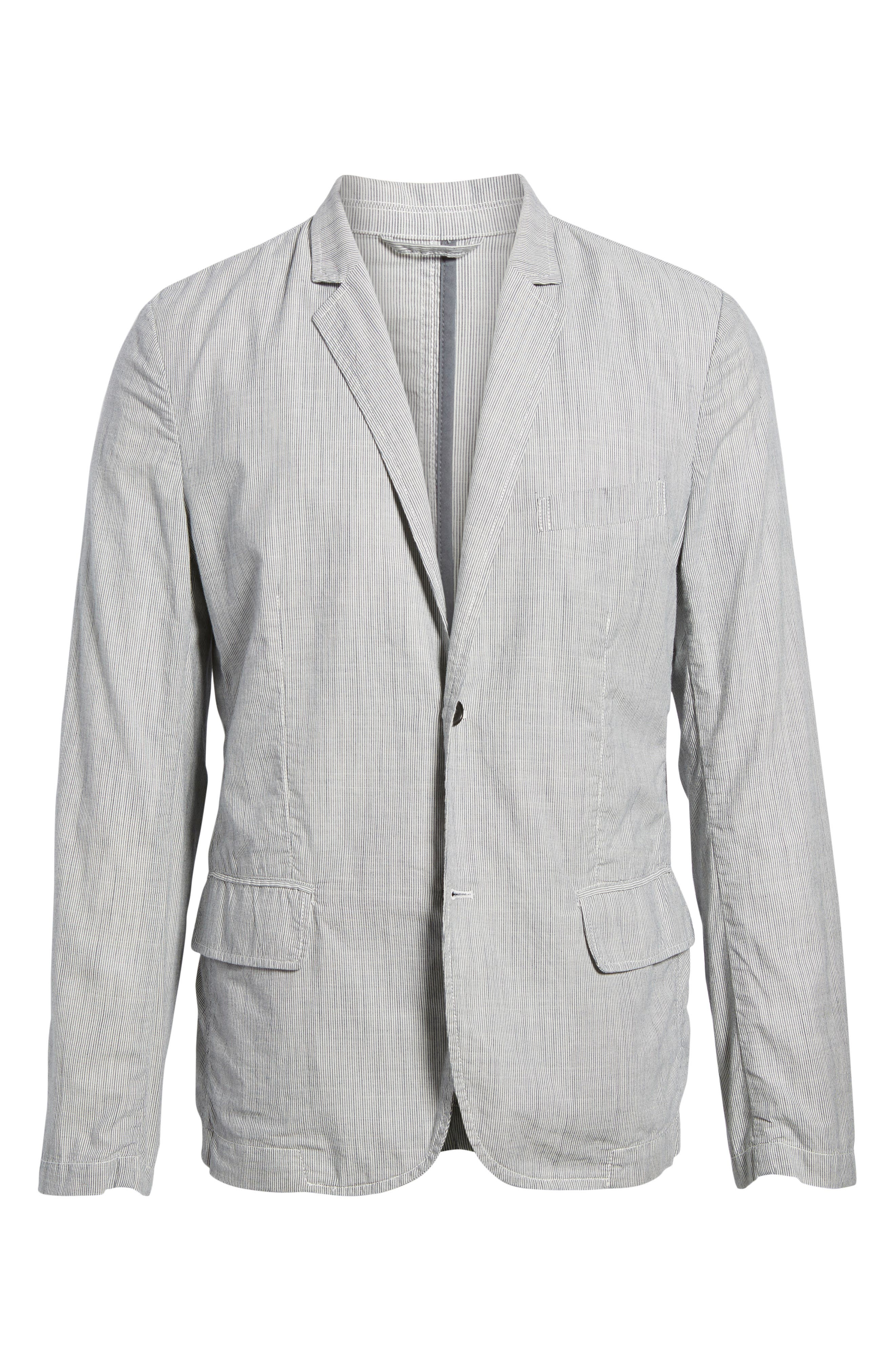 Stripe Cotton Blazer,                             Alternate thumbnail 6, color,                             True Gray