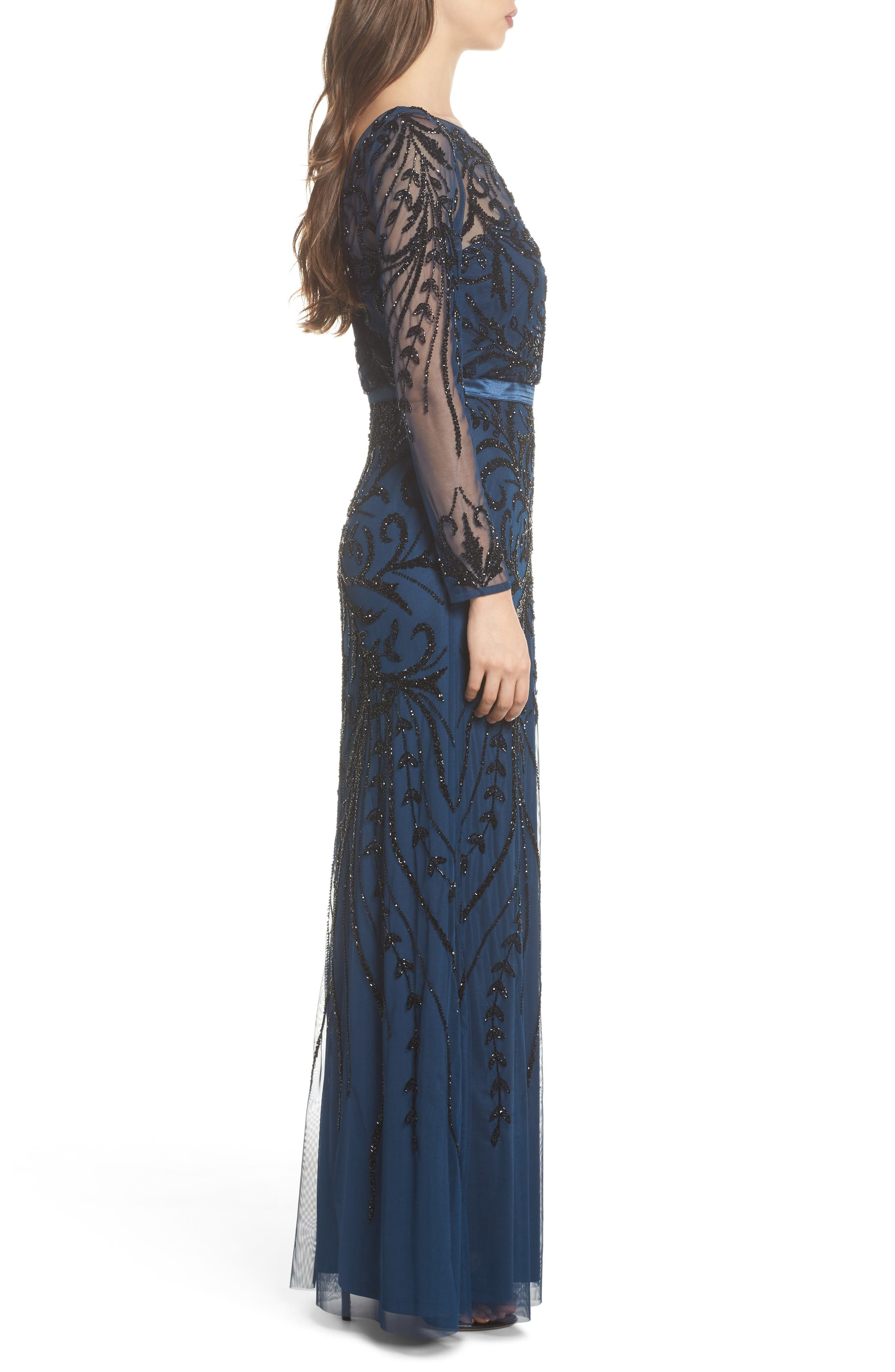Embellished Long Sleeve Gown,                             Alternate thumbnail 3, color,                             Deep Blue
