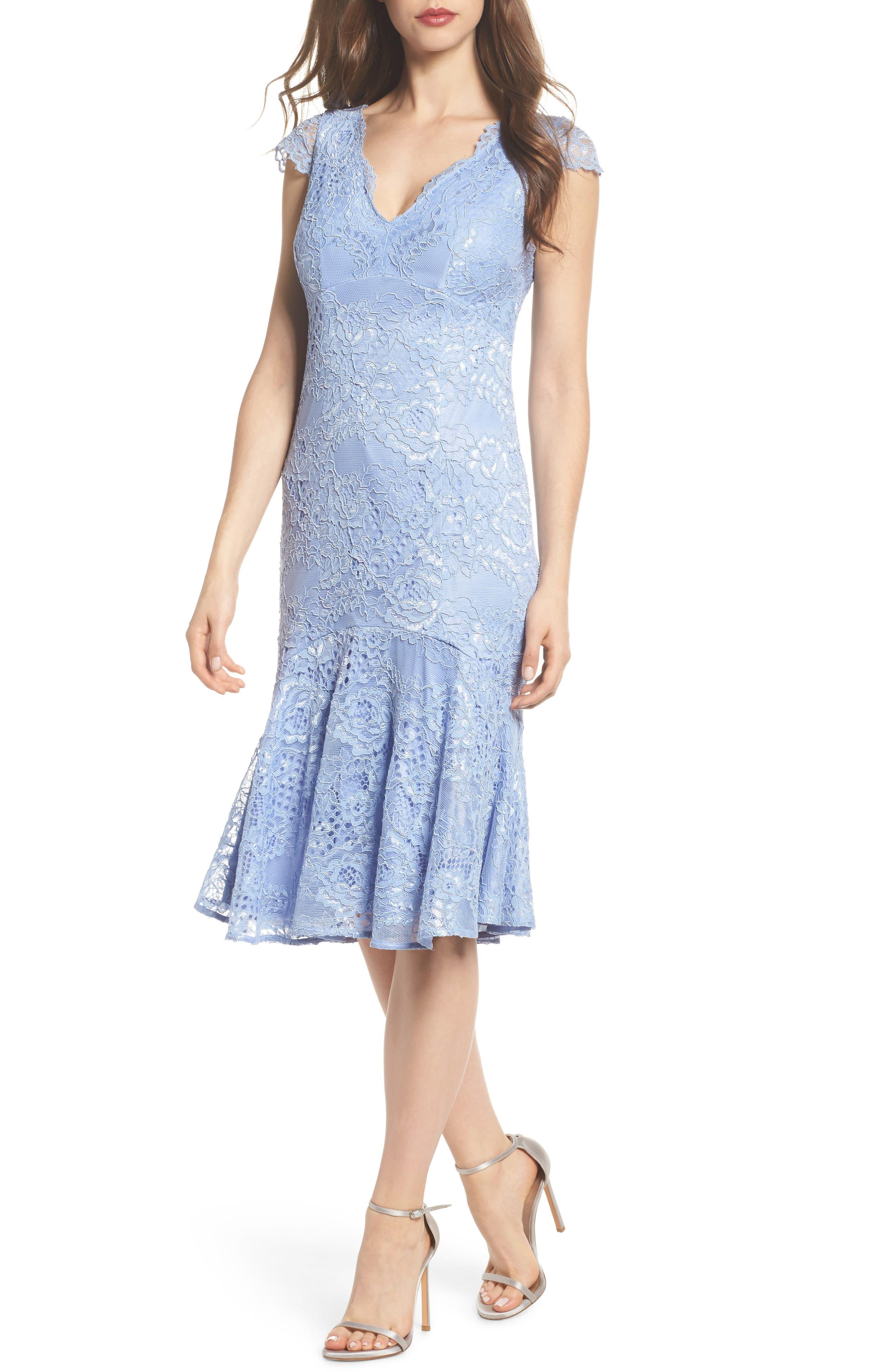 Flounce Hem Lace Dress,                             Main thumbnail 1, color,                             Blue Lavender