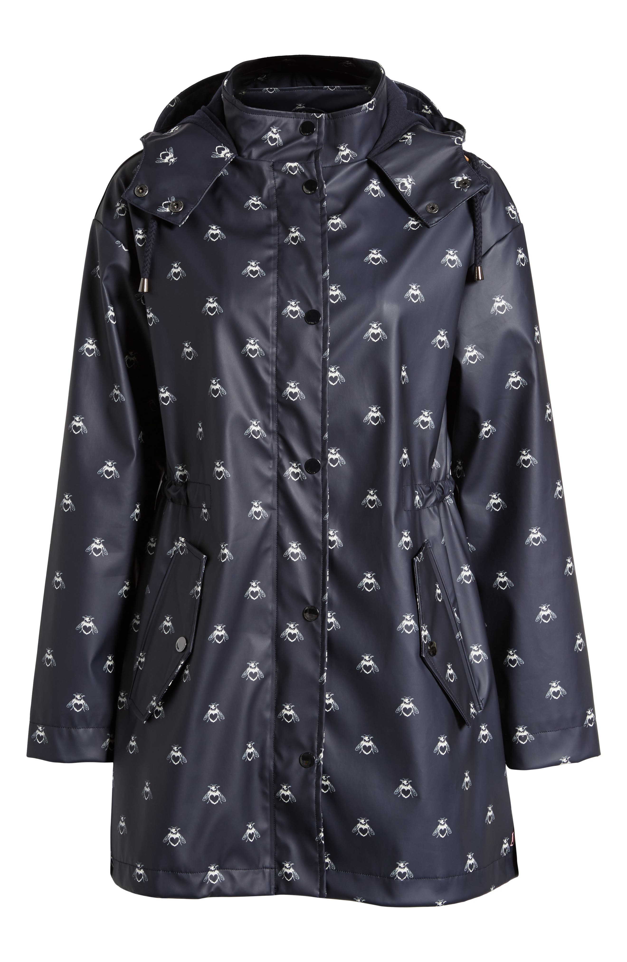 Right As Rain Packable Hooded Raincoat,                             Alternate thumbnail 6, color,                             Navy Love Bees