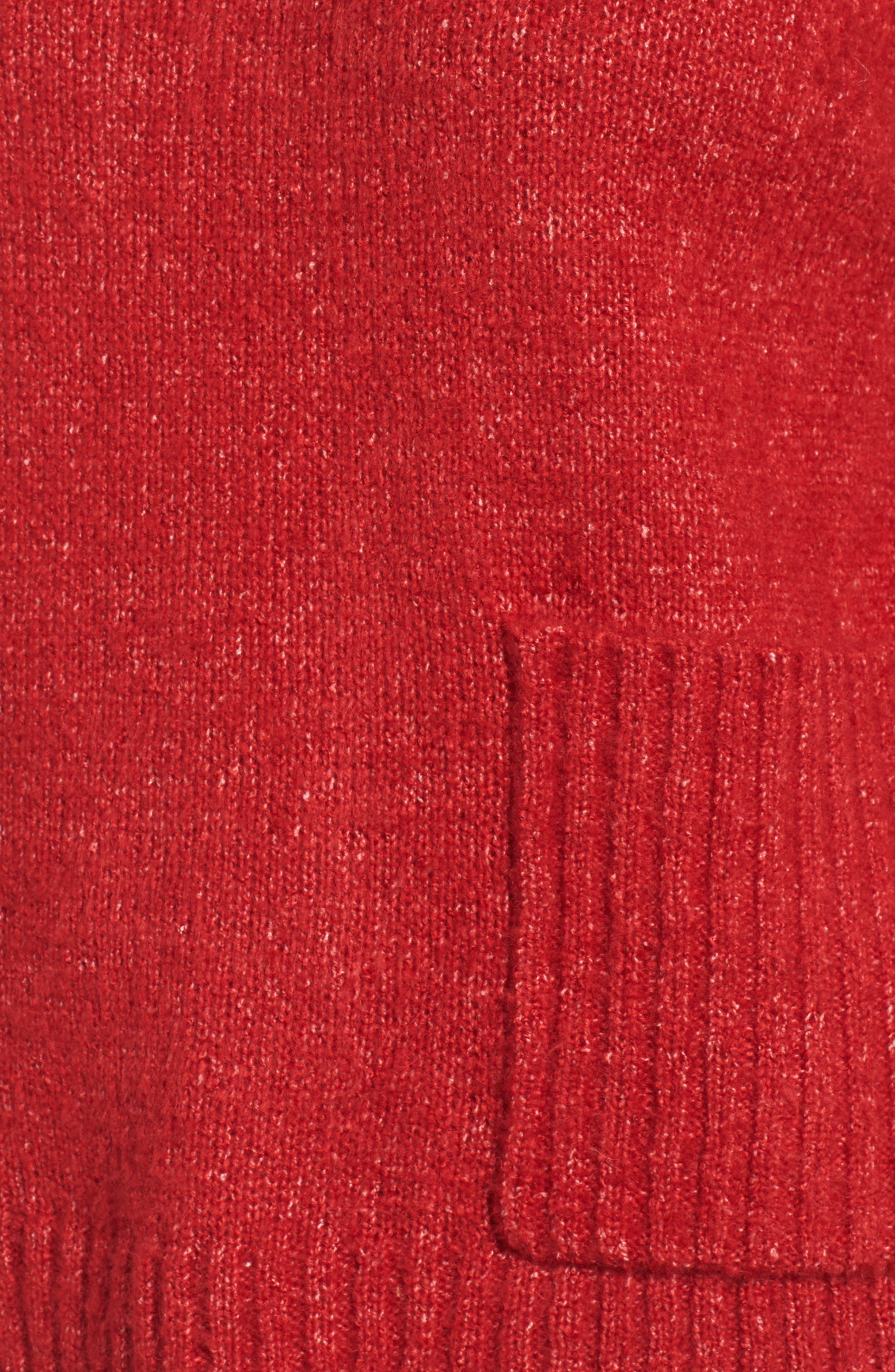 Mock Neck Patch Pocket Pullover,                             Alternate thumbnail 5, color,                             Red