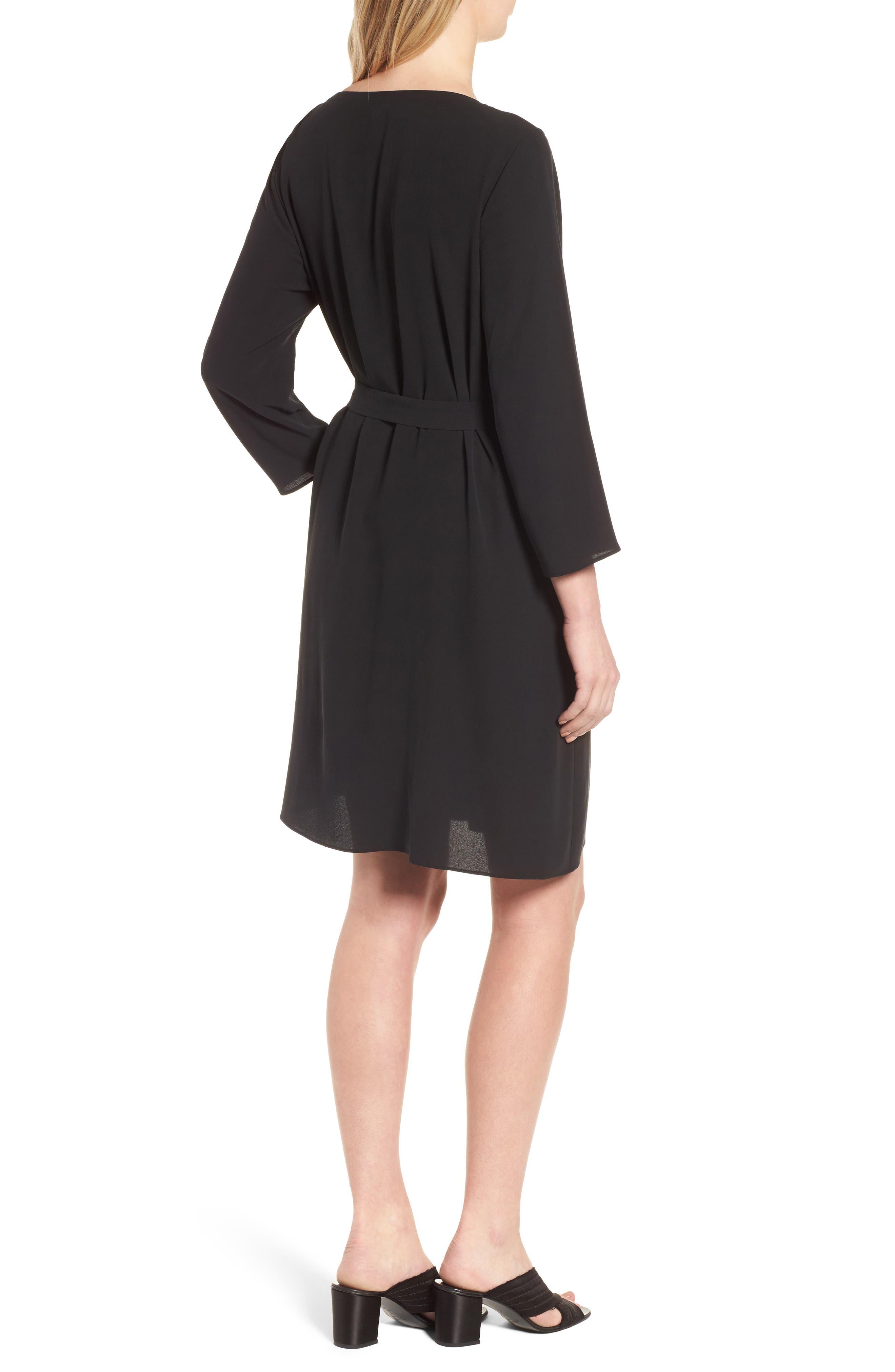 Bateau Neck Silk Dress,                             Alternate thumbnail 2, color,                             Black