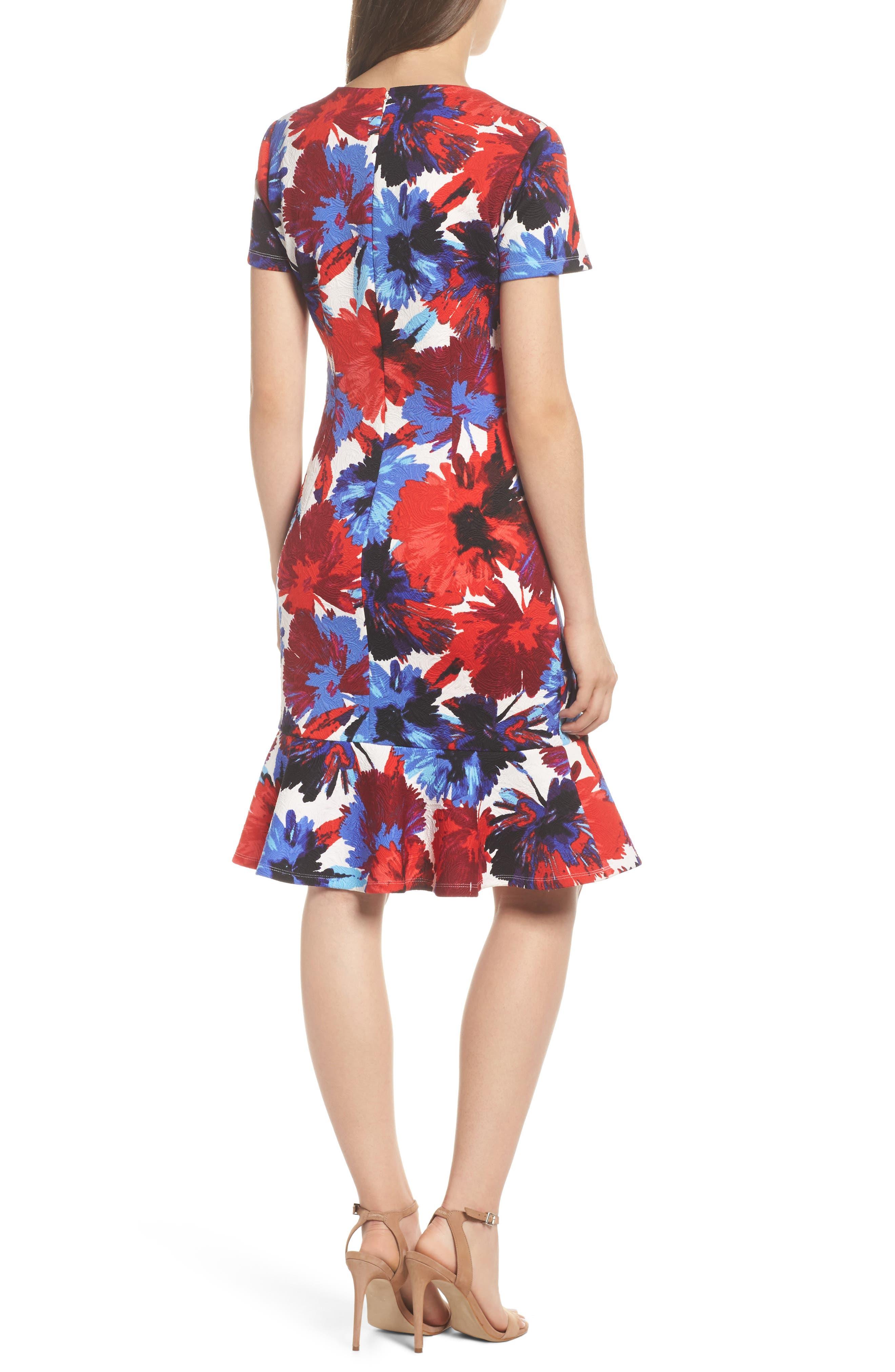 Flounce Dress,                             Alternate thumbnail 2, color,                             White/ Red