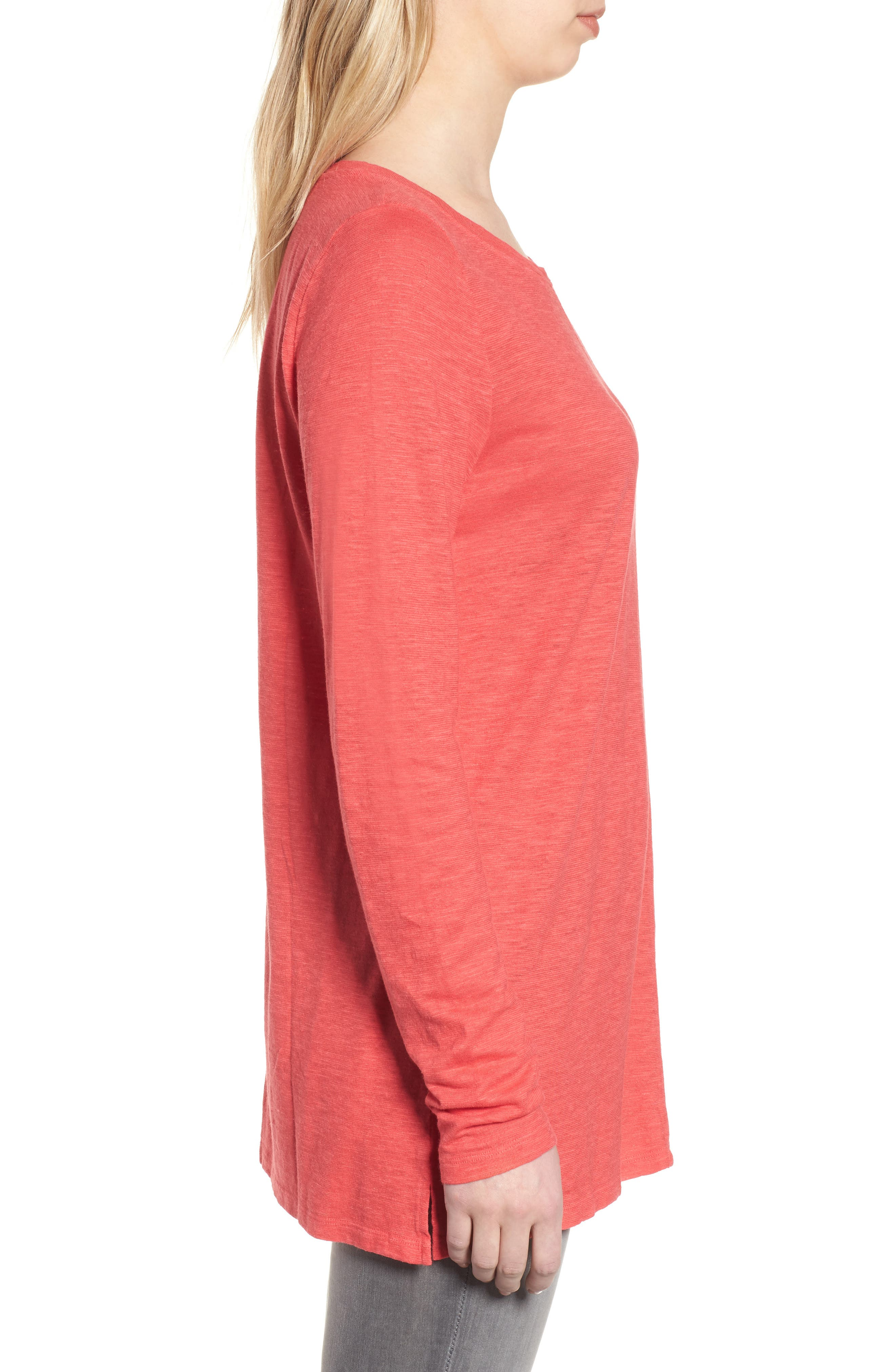 Slub Jersey Tunic Top,                             Alternate thumbnail 3, color,                             Strawberry