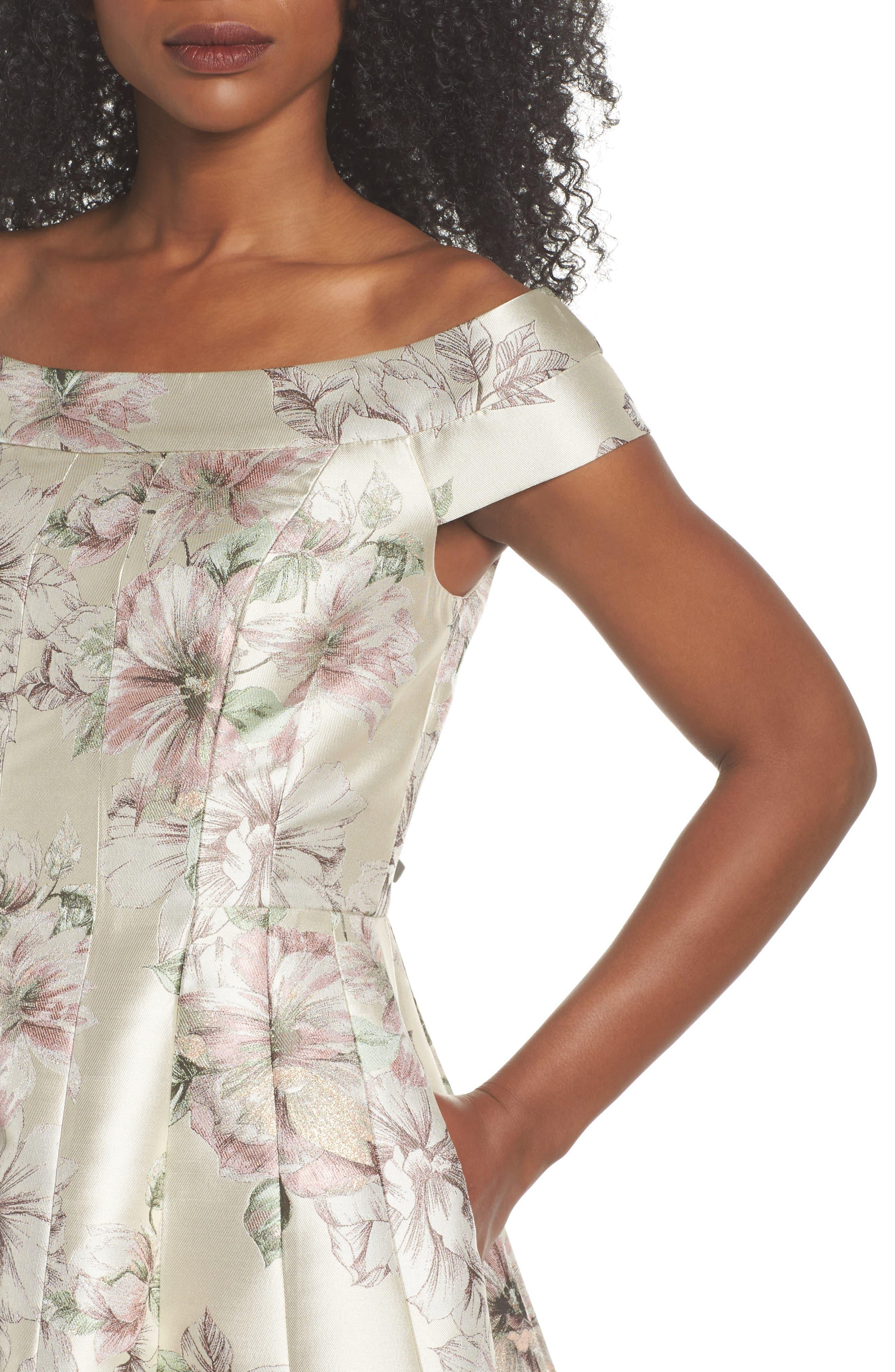 Floral Jacquard Off the Shoulder Ballgown,                             Alternate thumbnail 4, color,                             Blush