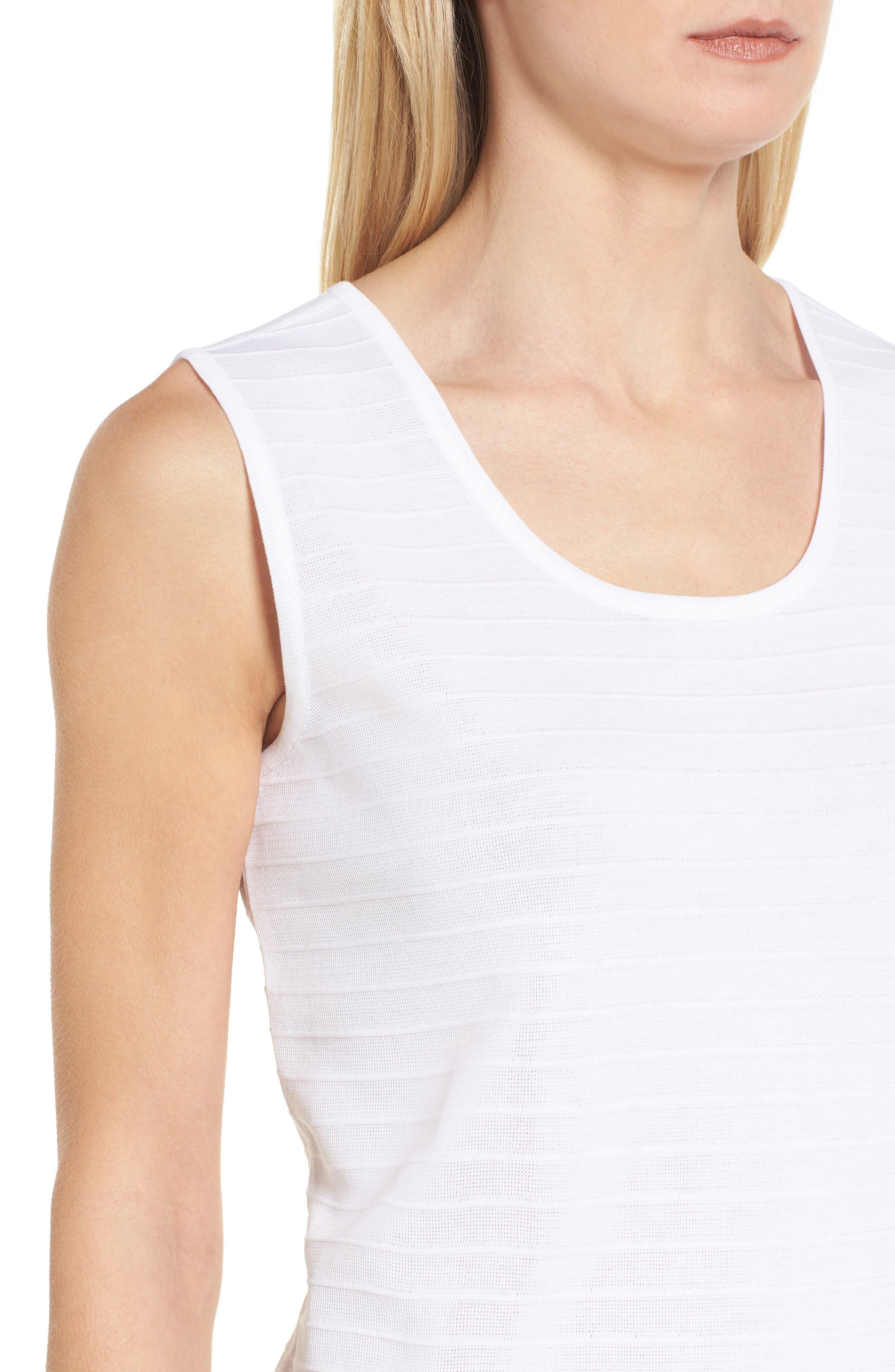 Textured Stripe Knit Tank,                             Alternate thumbnail 4, color,                             White