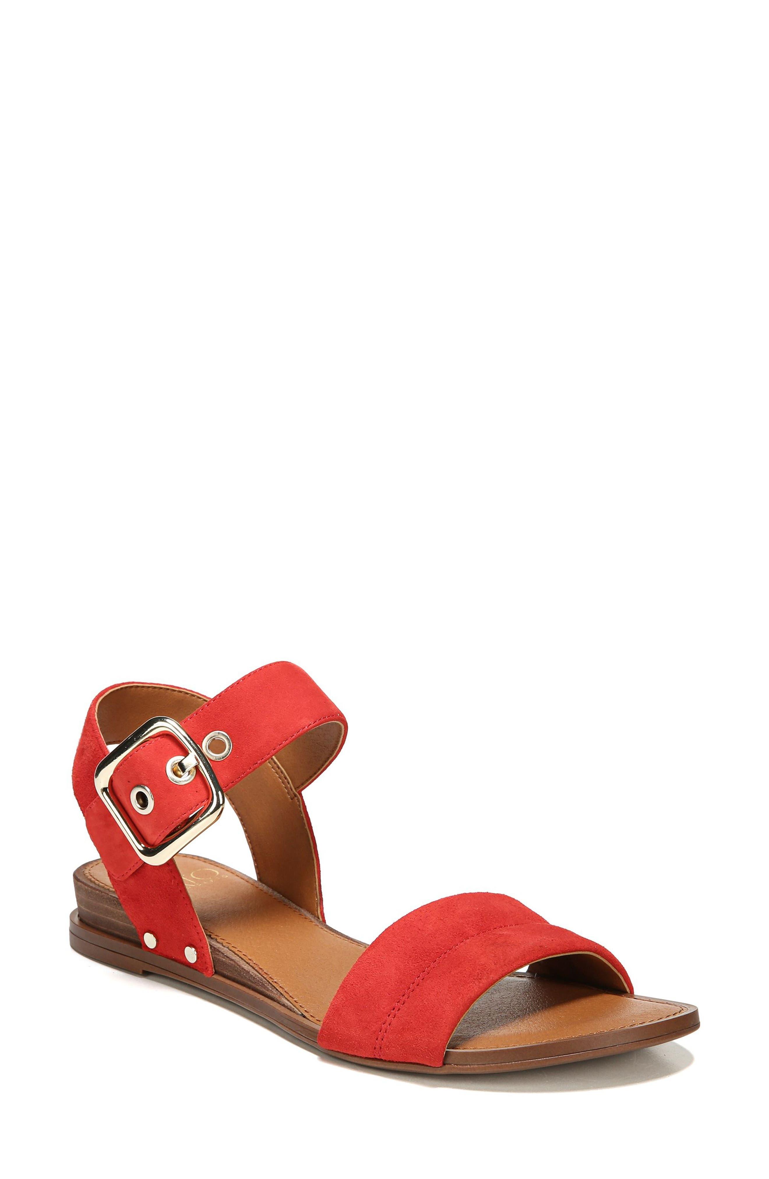 Patterson Low Wedge Sandal,                             Main thumbnail 1, color,                             Pop Red Suede