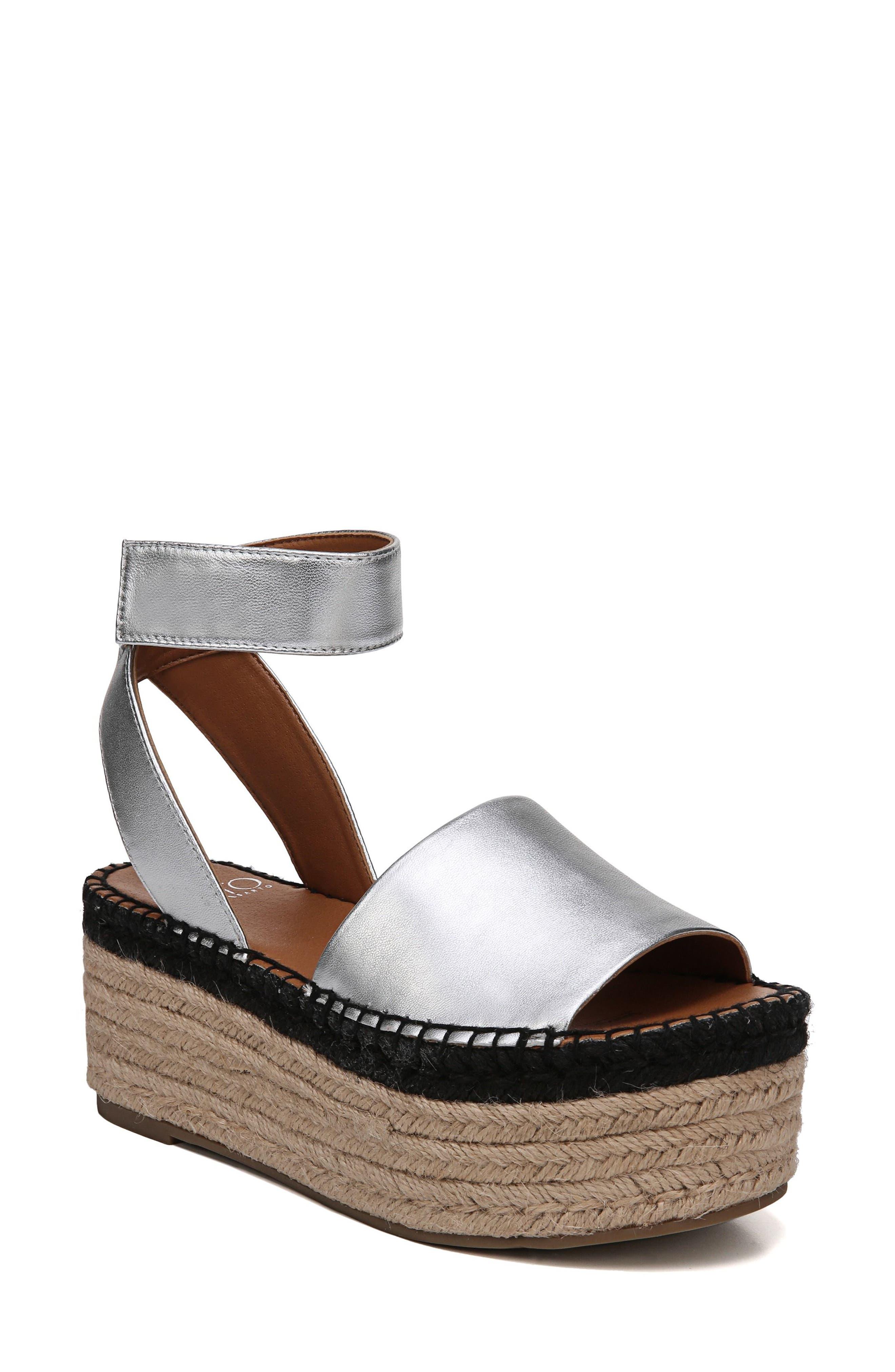 Maisi Platform Espadrille Sandal,                             Main thumbnail 1, color,                             Silver Leather