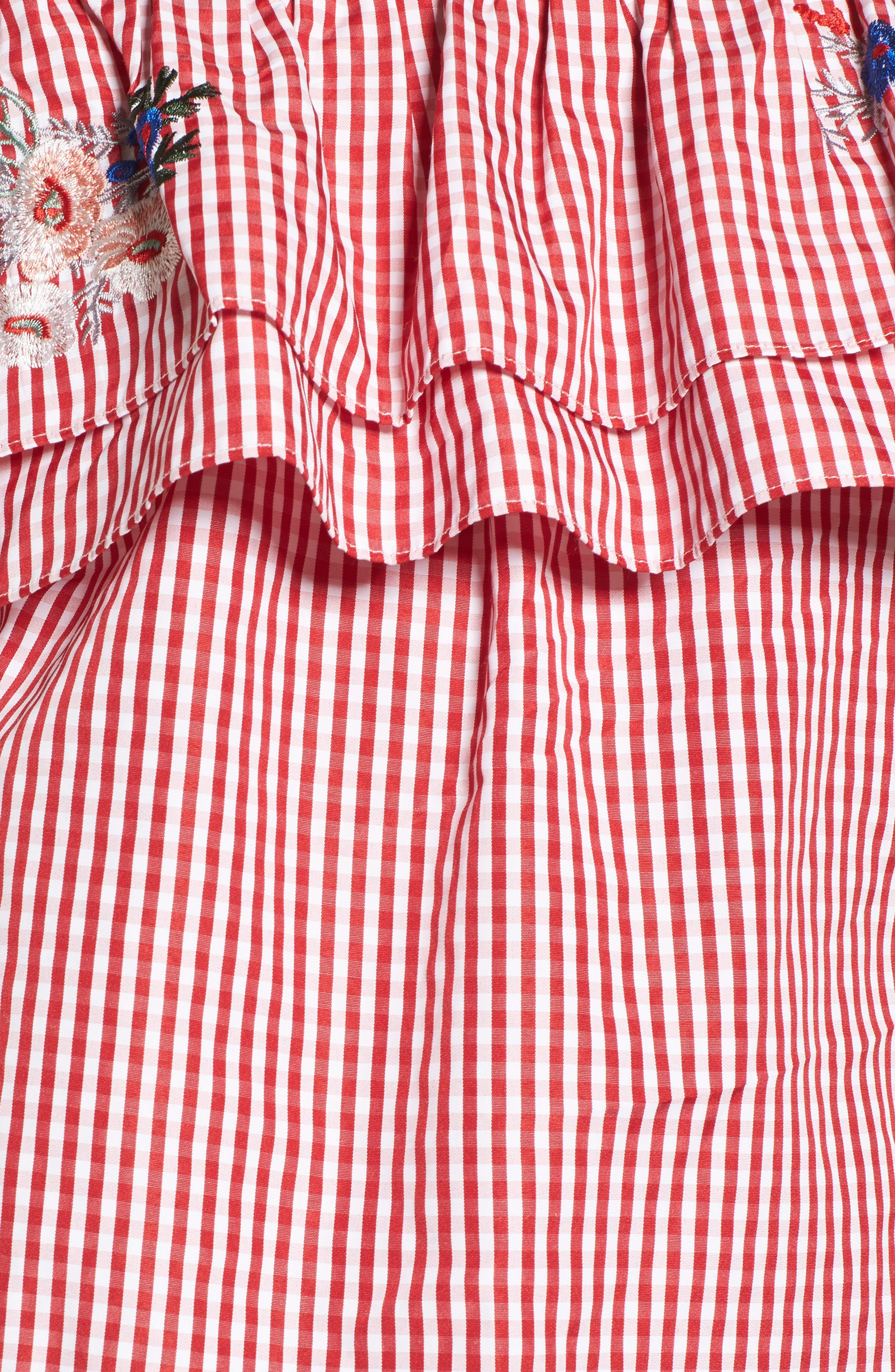 Embroidered Gingham Off the Shoulder Top,                             Alternate thumbnail 5, color,                             Red Gingham