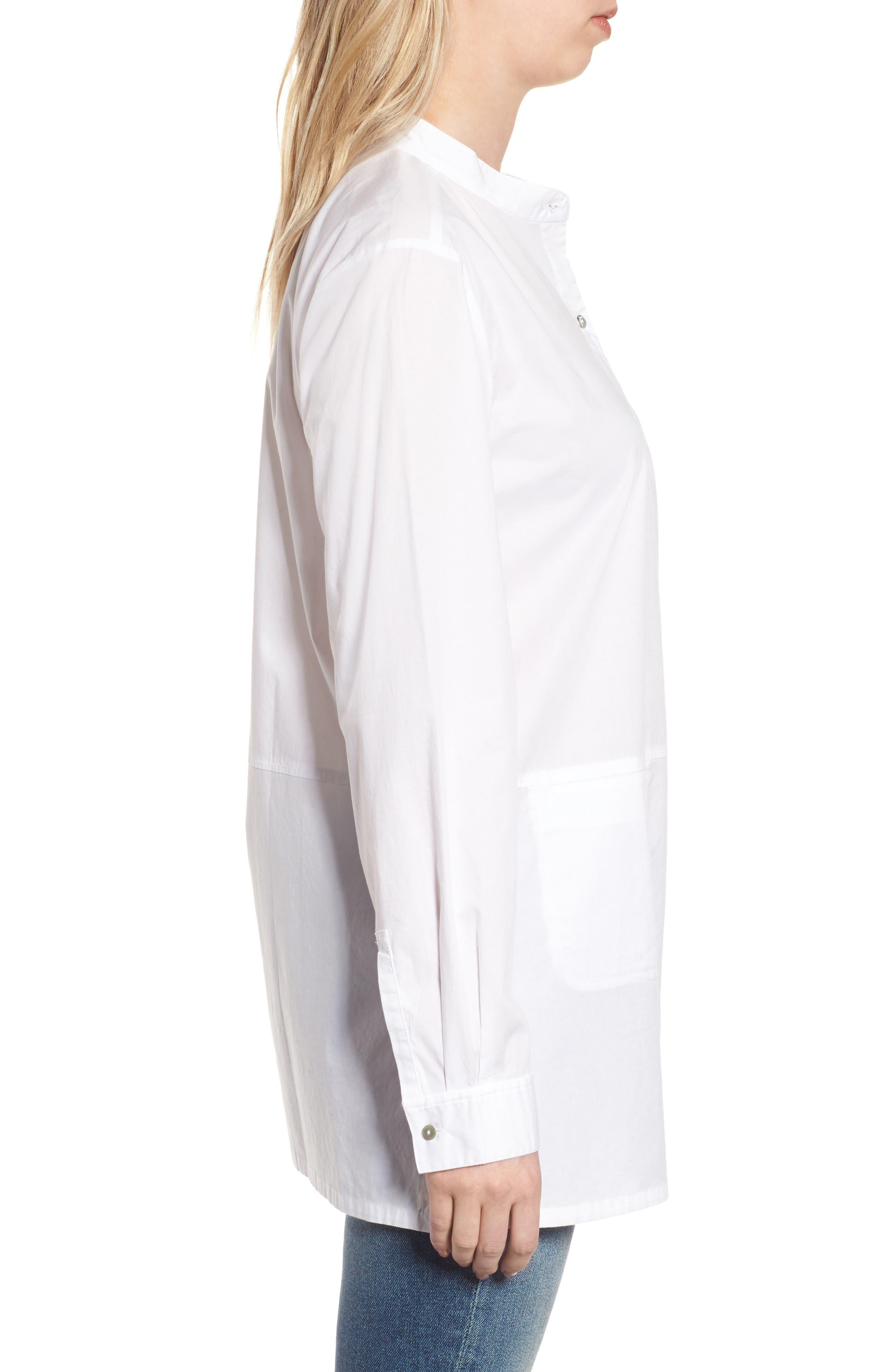 Stretch Organic Cotton Shirt,                             Alternate thumbnail 3, color,                             White