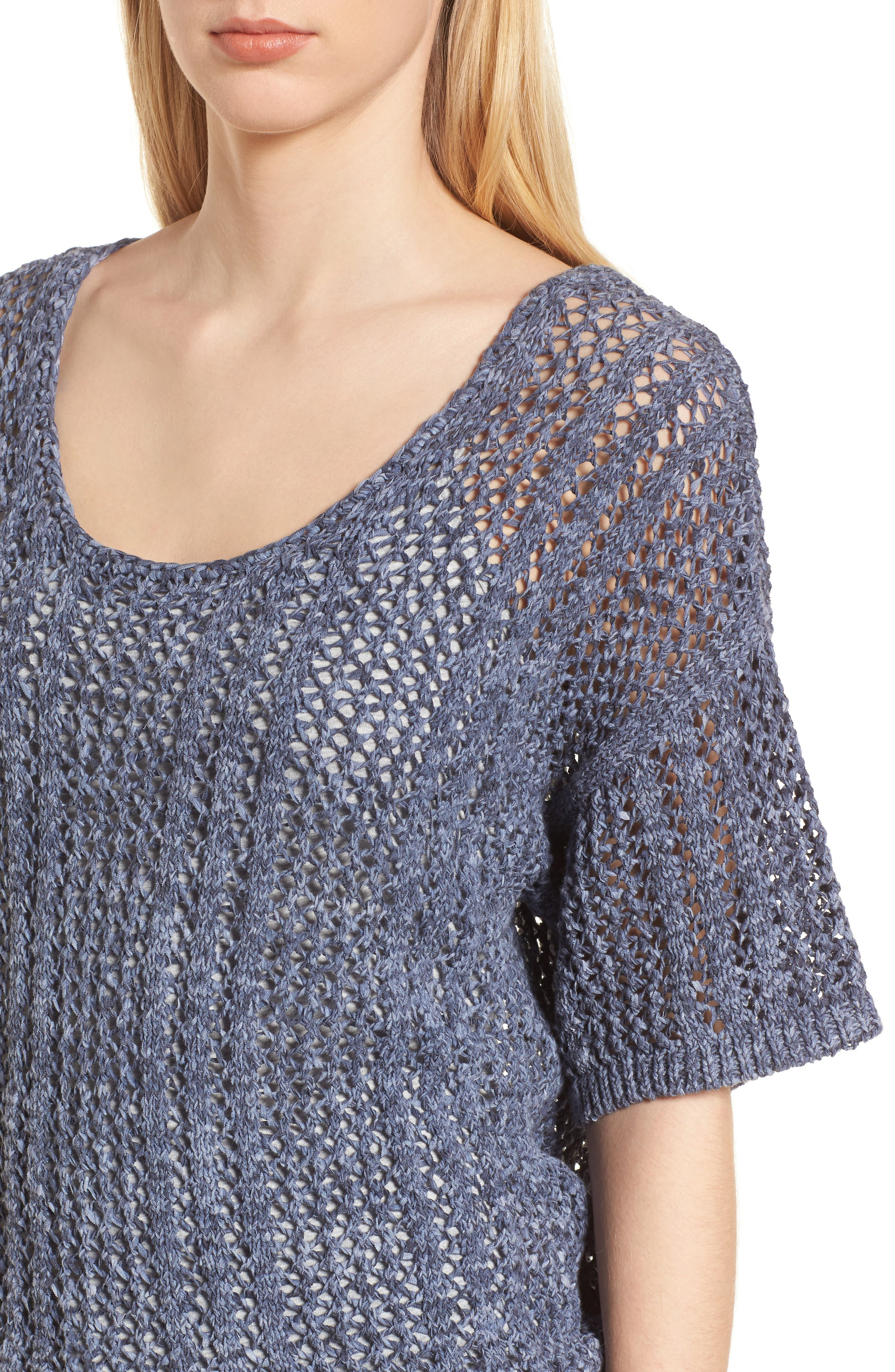 Knox Crochet Sweater,                             Alternate thumbnail 4, color,                             Navy