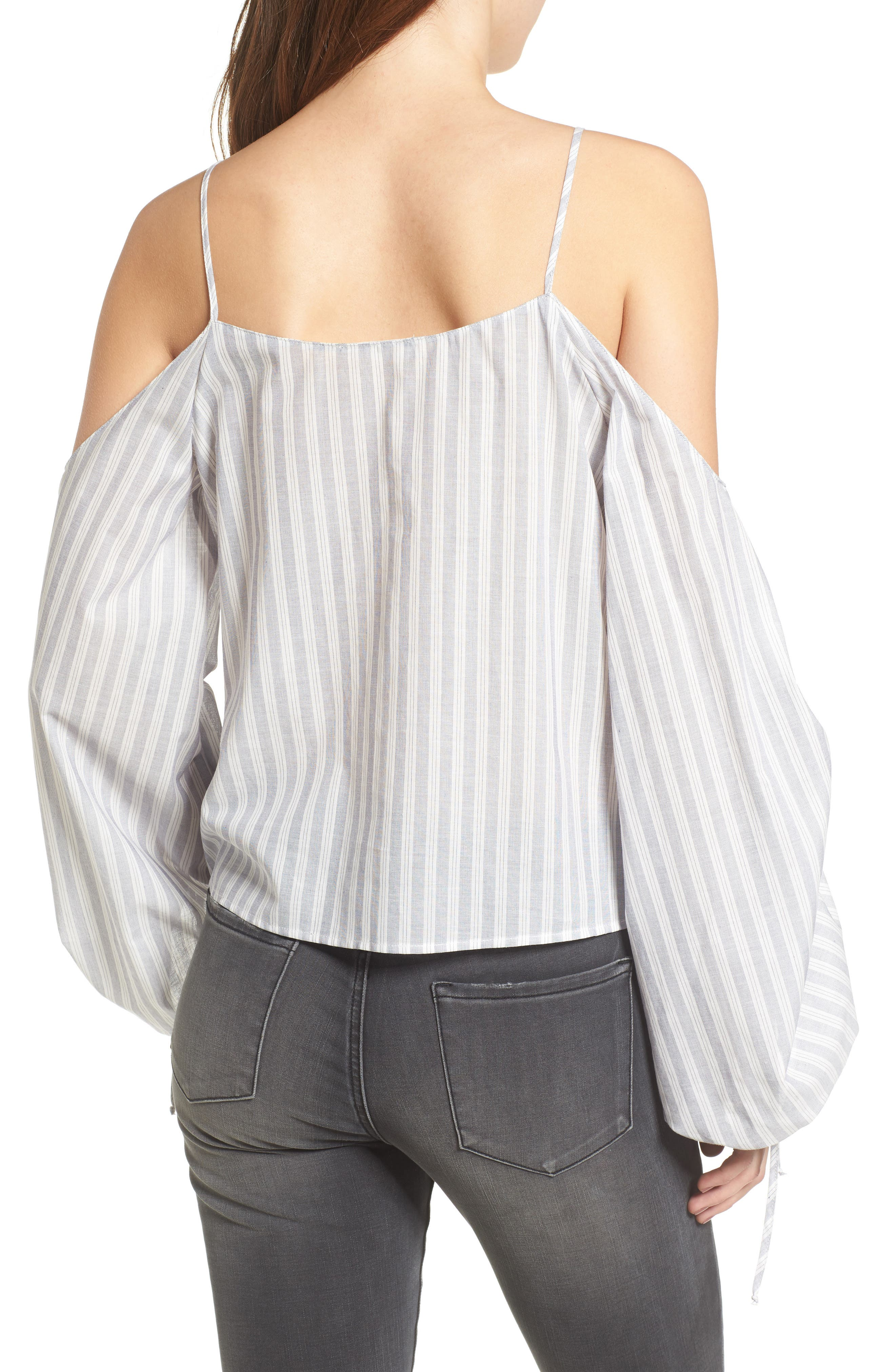 Cinched Balloon Sleeve Top,                             Alternate thumbnail 2, color,                             Grey/ White Stripe
