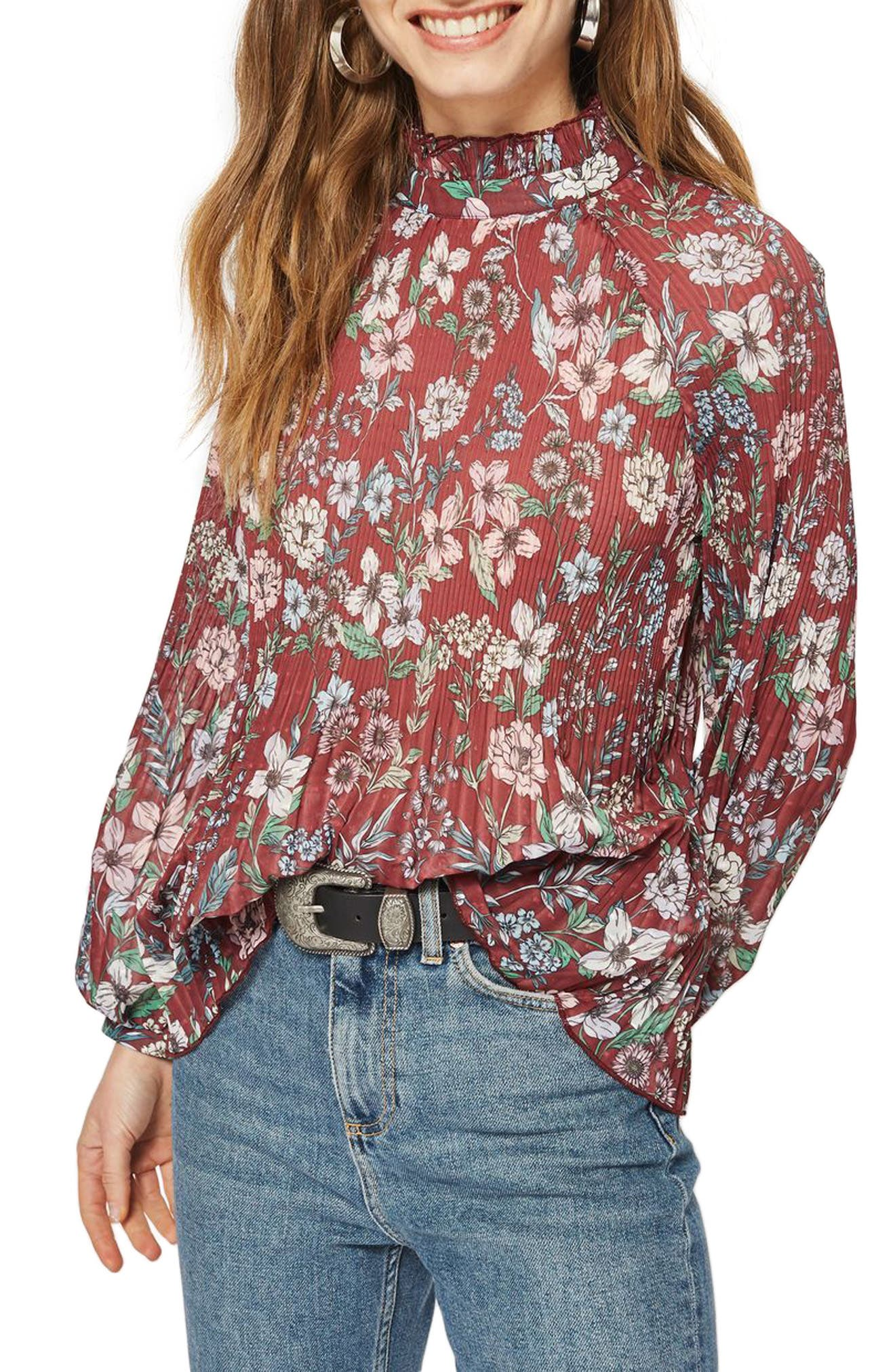Topshop Floral Pleat Tunic Blouse