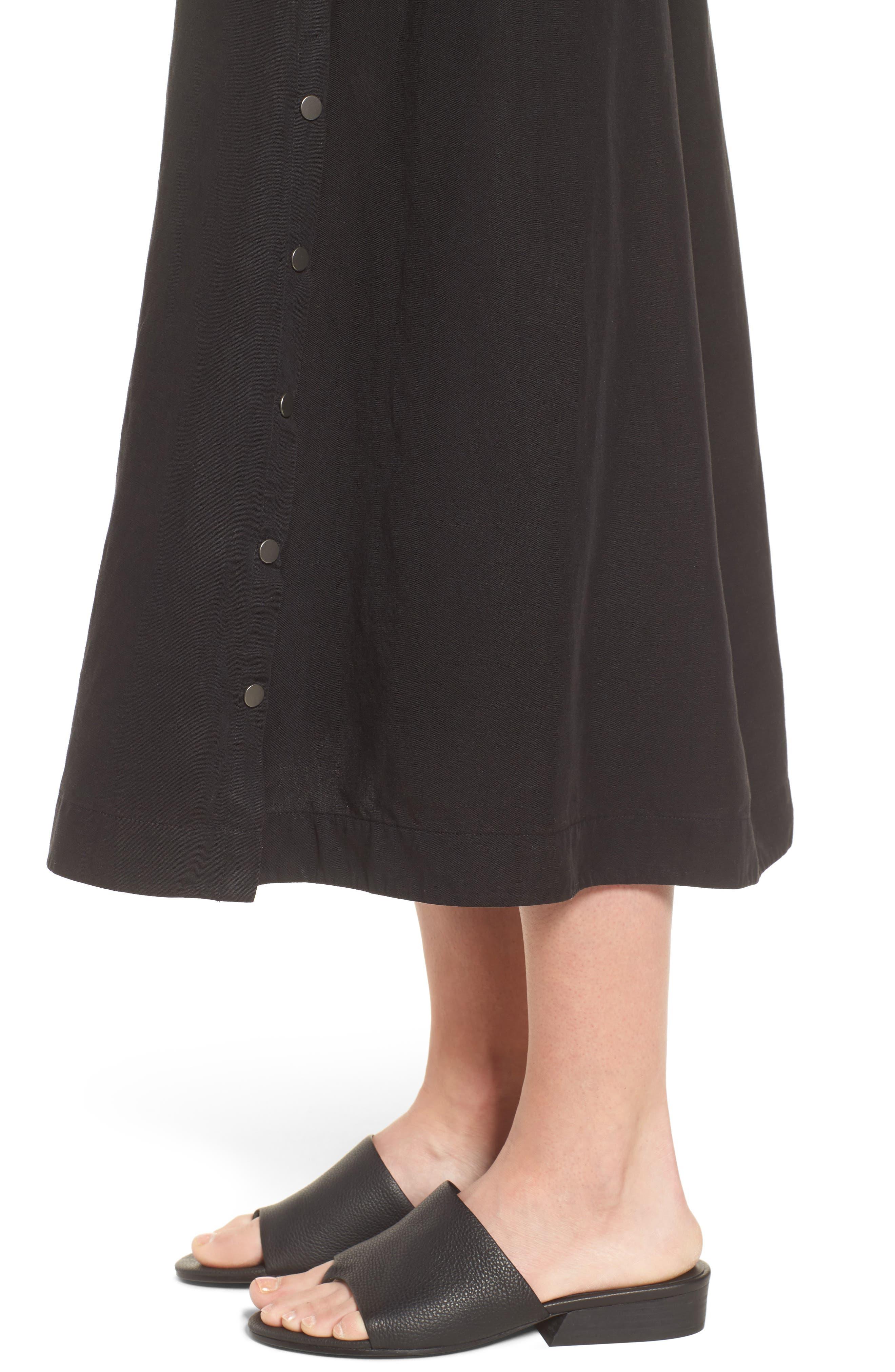 Tencel<sup>®</sup> Lyocell & Linen Midi Skirt,                             Alternate thumbnail 4, color,                             Black