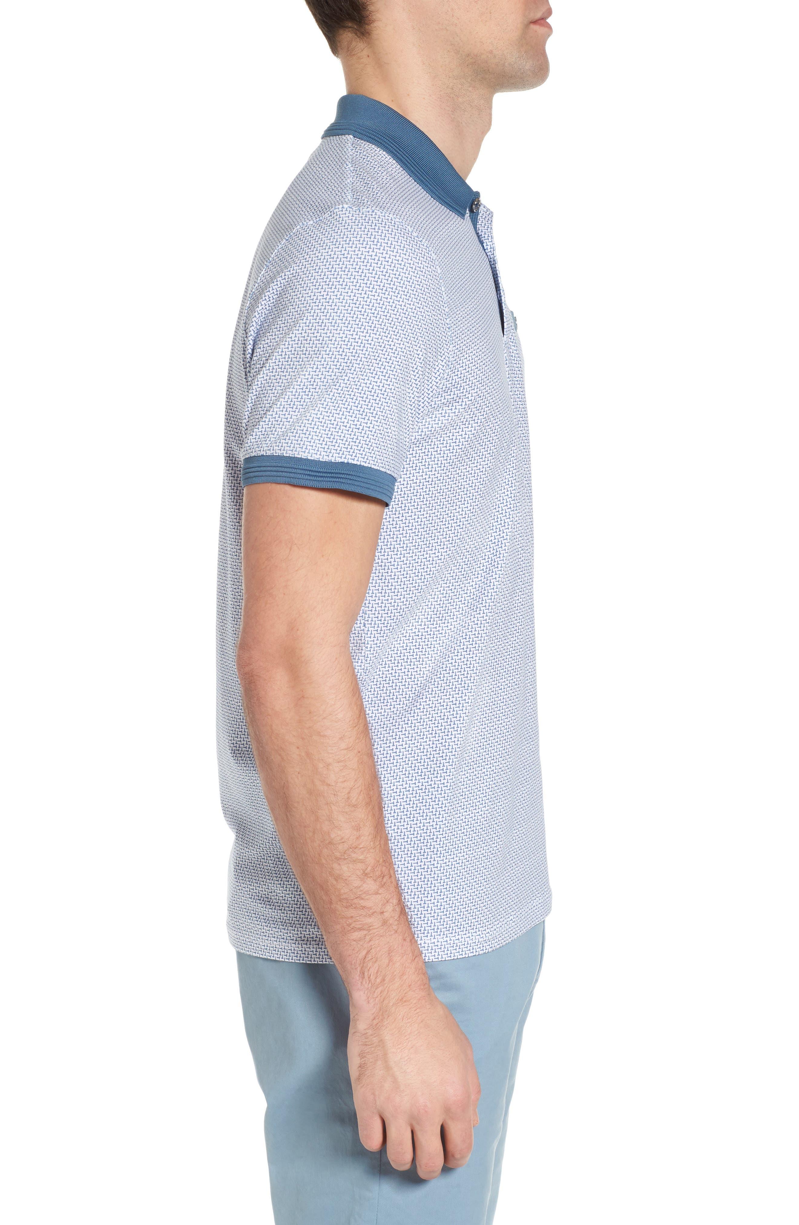 Sloughi Trim Fit Stretch Polo Shirt,                             Alternate thumbnail 3, color,                             Blue