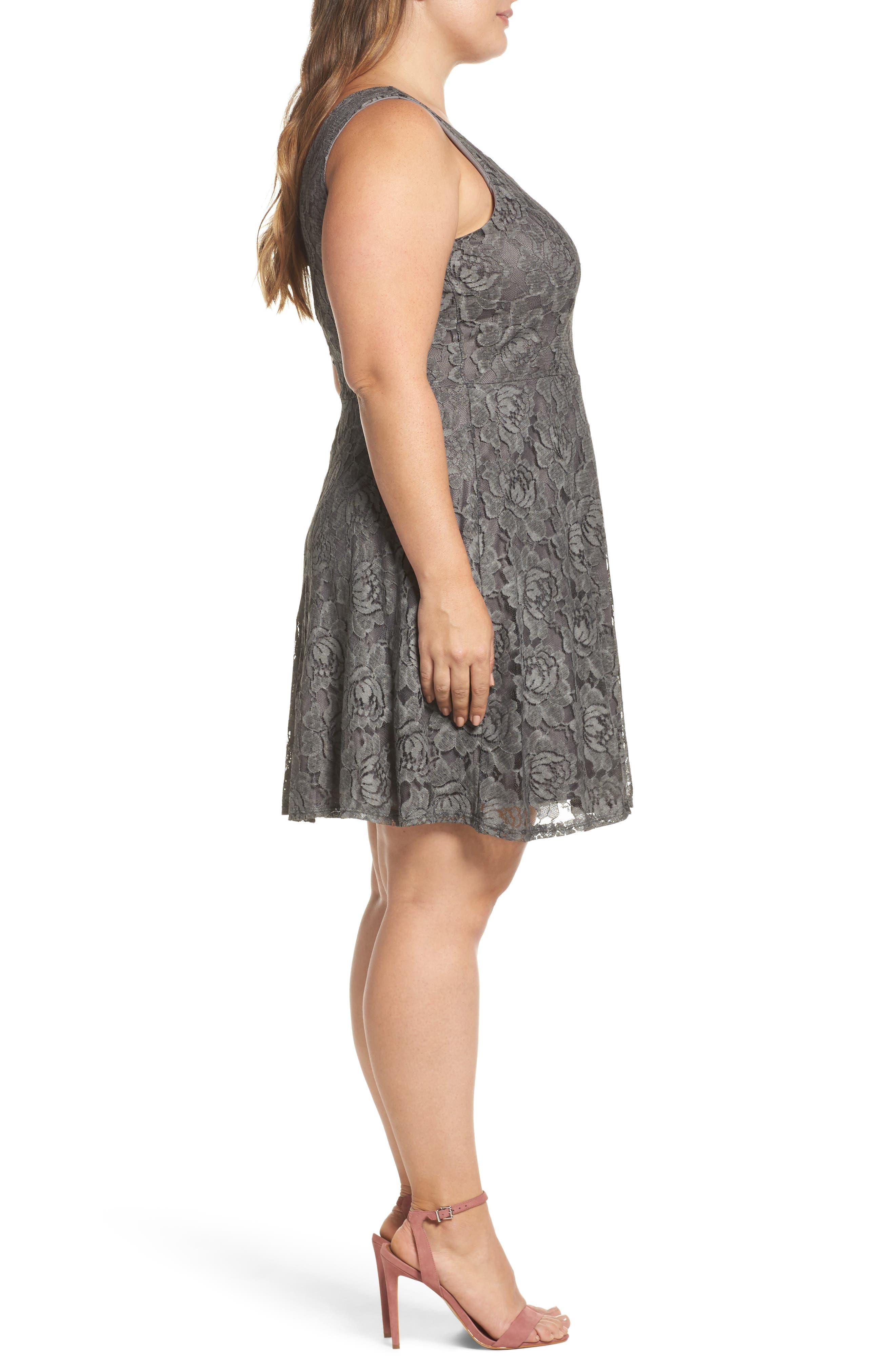 Lace Skater Dress,                             Alternate thumbnail 3, color,                             Charcoal